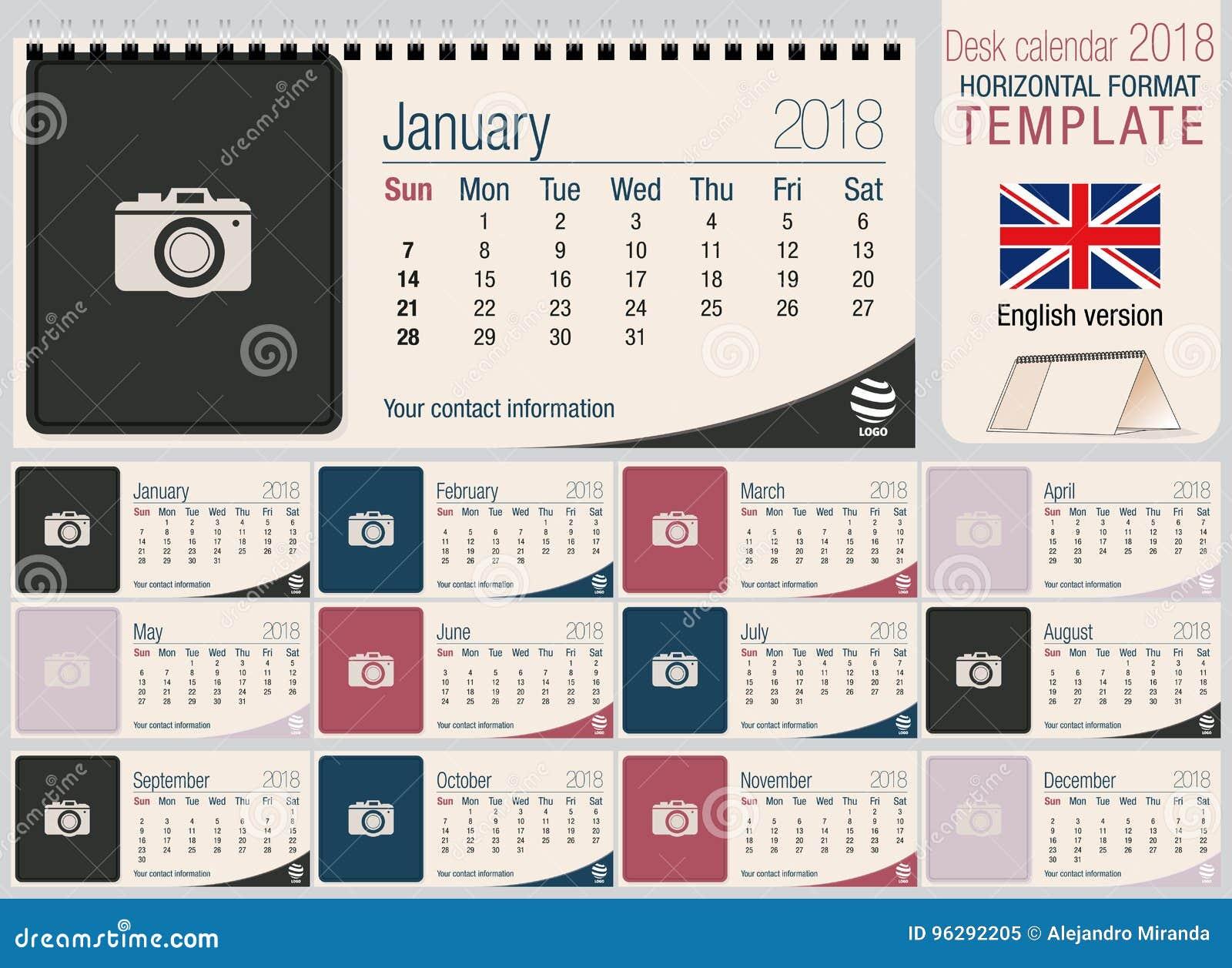 Modello utile 2018 del calendario del triangolo dello scrittorio con spazio per disporre le foto Dimensione: 220mm x 100mm Orizzo
