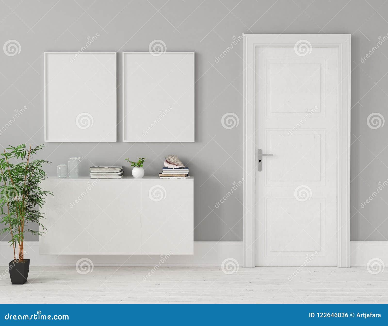 Modellposter im Hauptinnenraum mit Kommode und Anlage nahe Tür