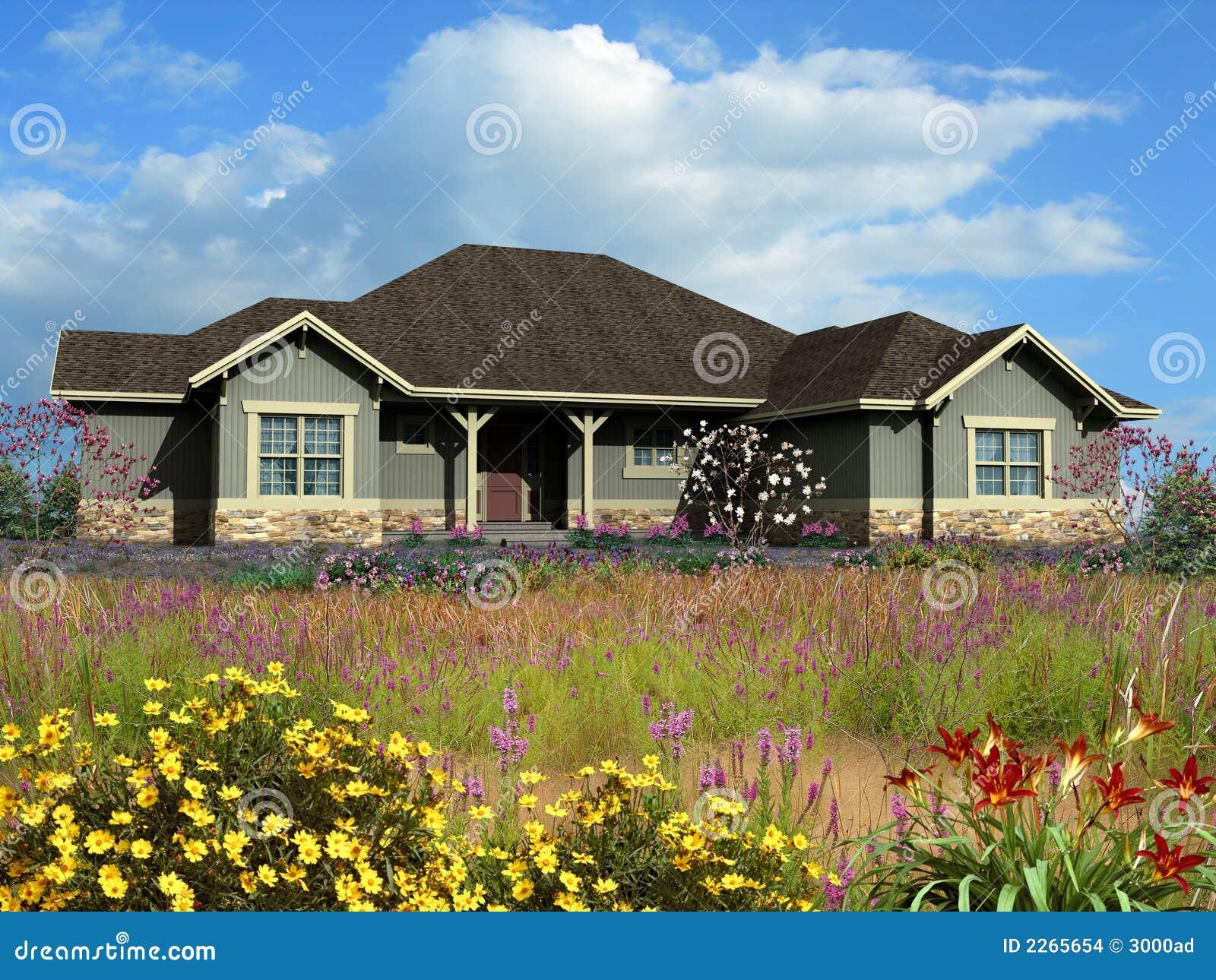 Modelo 3d de la casa de rancho foto de archivo imagen for Modelo de casa de 4x6