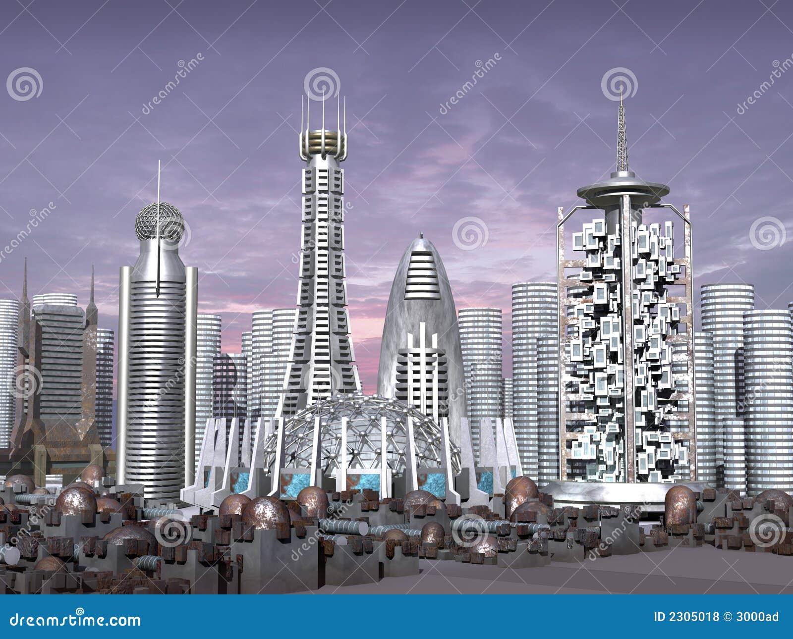 Modelo 3d de la ciudad de la ciencia ficción
