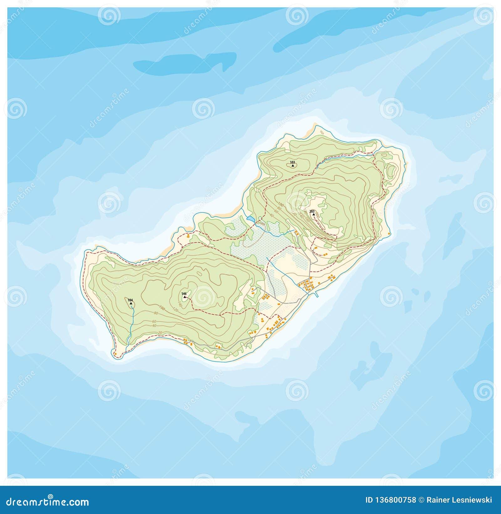 Modelo abstracto del mapa de la isla con alturas topográficas y líneas profundas