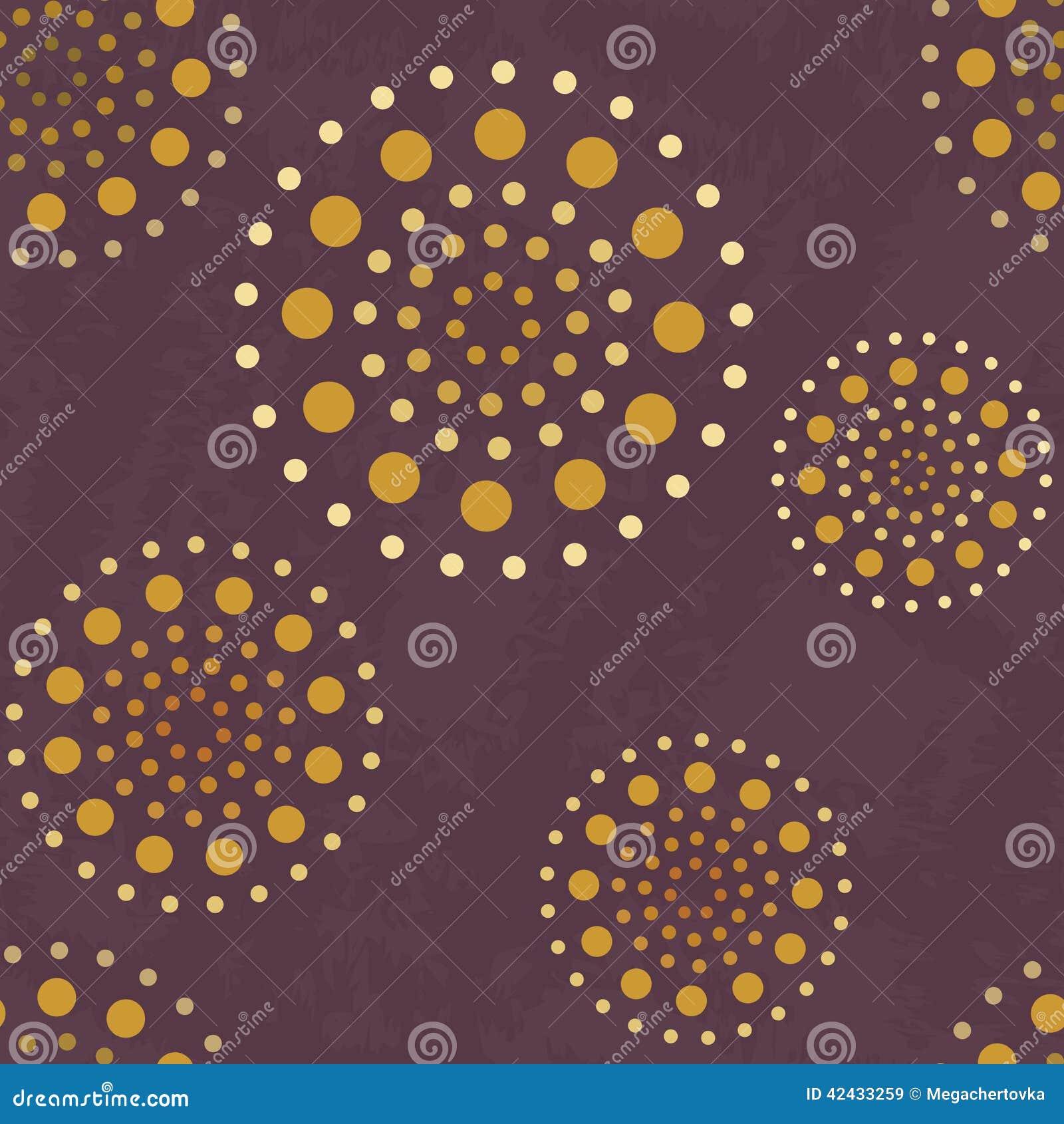 Modelo abstracto inconsútil con las esferas de oro en el fondo violeta