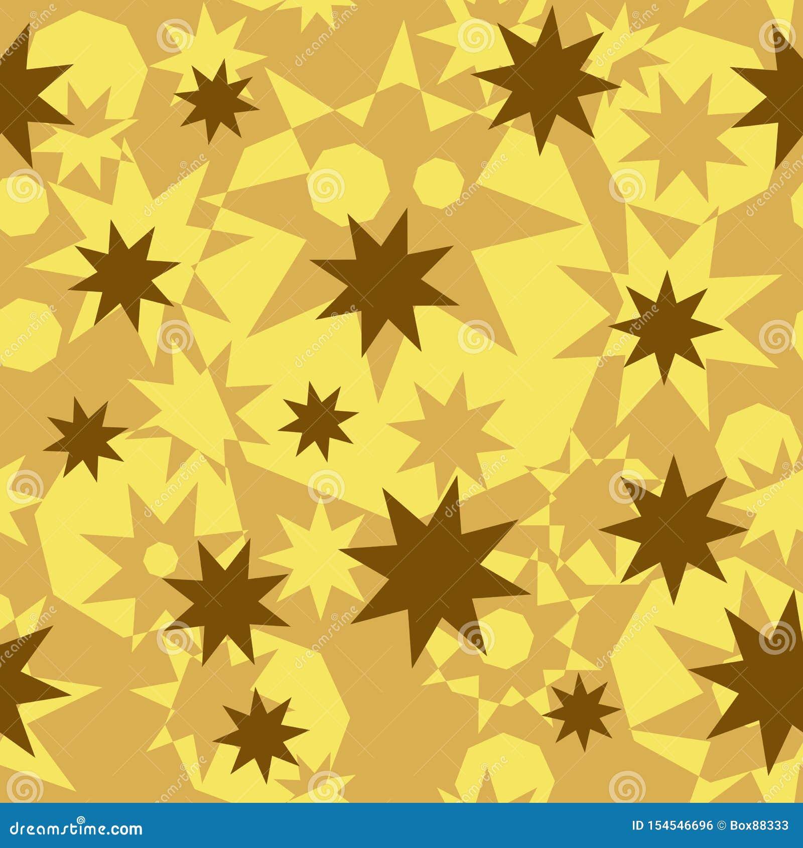 Modelo abstracto inconsútil de formas poligonales geométricas Estrellas del oro, beige, ocres y octágonos octagonales
