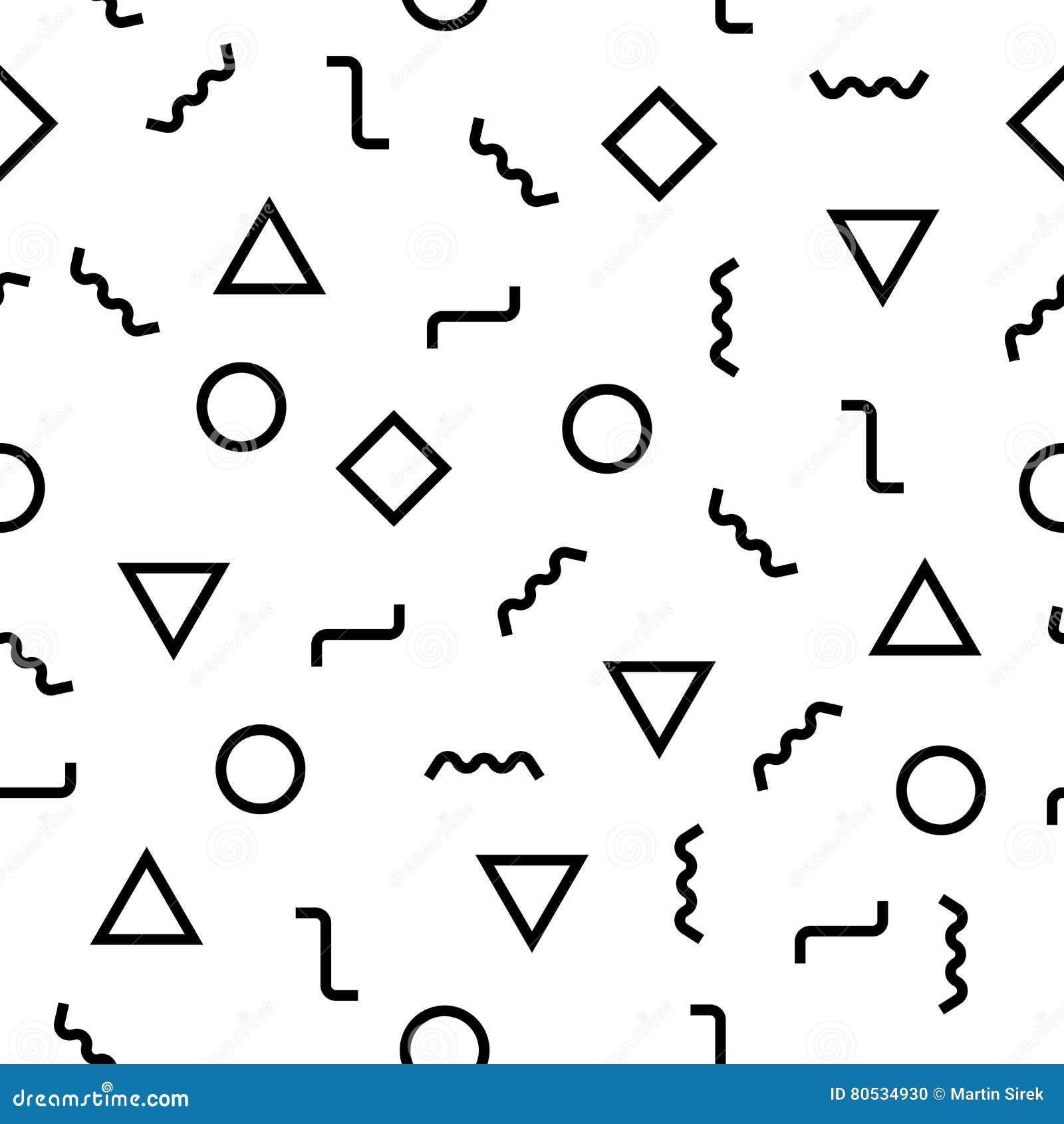 Modelo abstracto moderno de Memphis de la geometría del vector fondo geométrico inconsútil blanco y negro