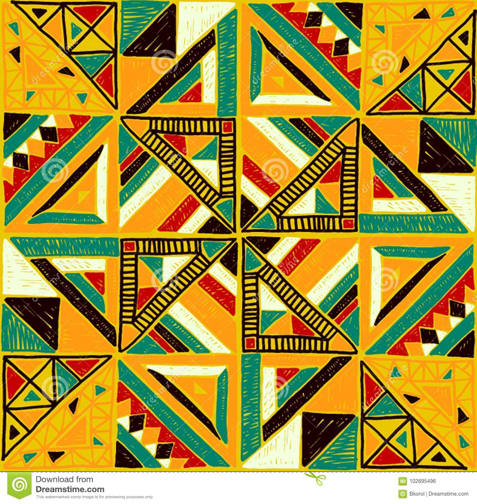 Modelo africano inconsútil Ornamento étnico en la alfombra Estilo azteca Figura bordado tribal Modelo indio, mexicano, popular