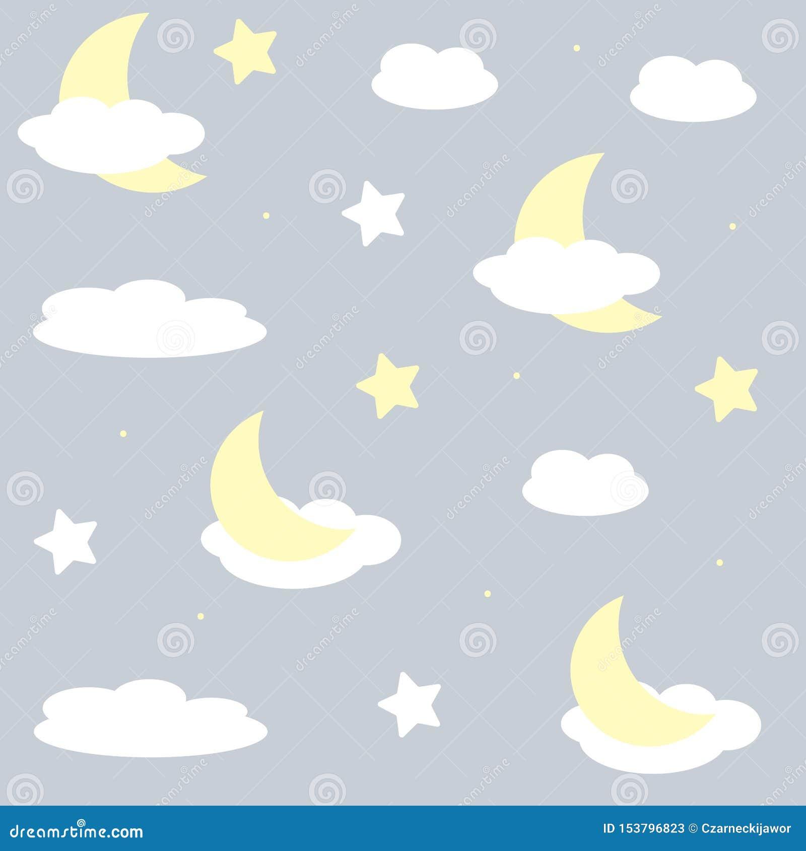 Modelo agradable de los seamles para los niños Ejemplo del vector con las estrellas y las nubes