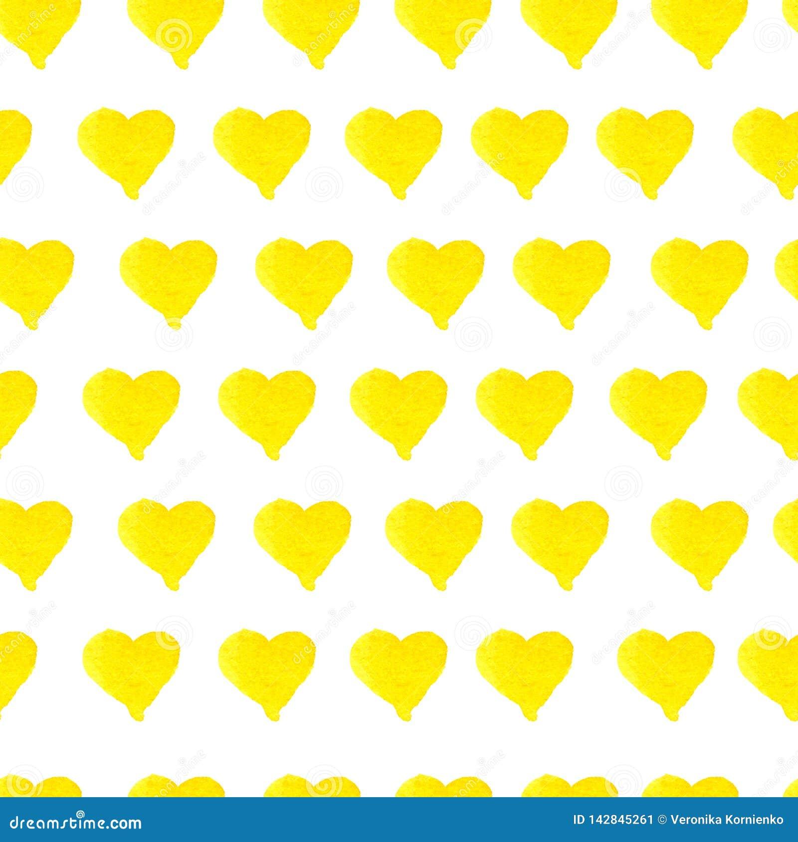 Modelo amarillo inconsútil exhausto de los corazones de la acuarela de la mano