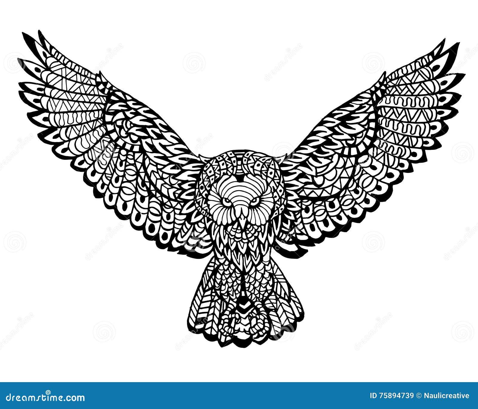 Modelo animal étnico del detalle del garabato - Owl Lion Zentangle Illustration