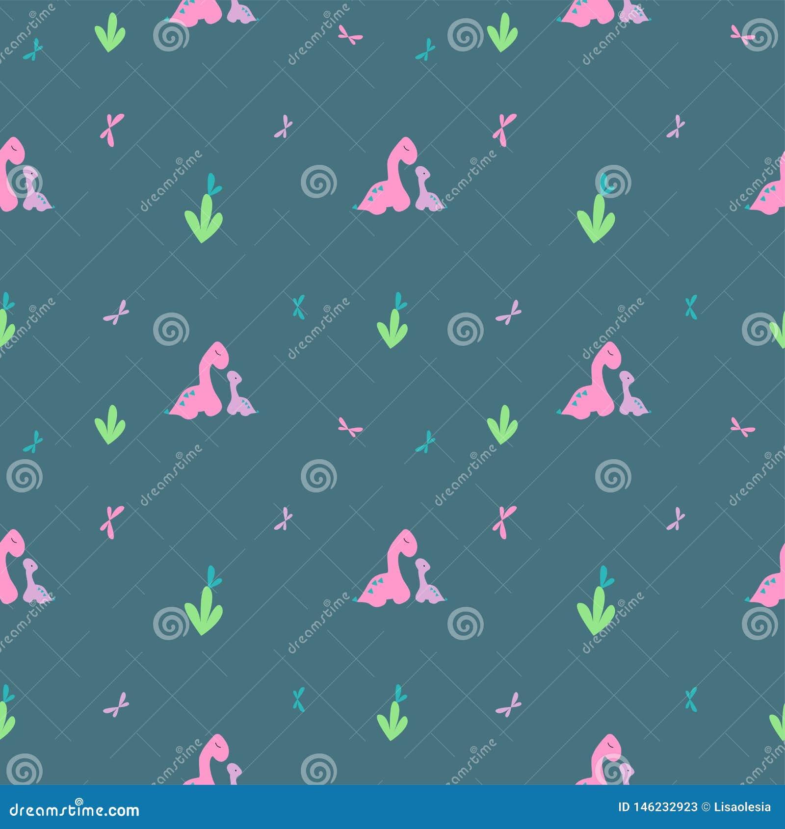 Modelo apacible de Dino Pequeños dinosaurio rosado y mariposas grandes, púrpuras Teja para las materias textiles, ropa de la impr