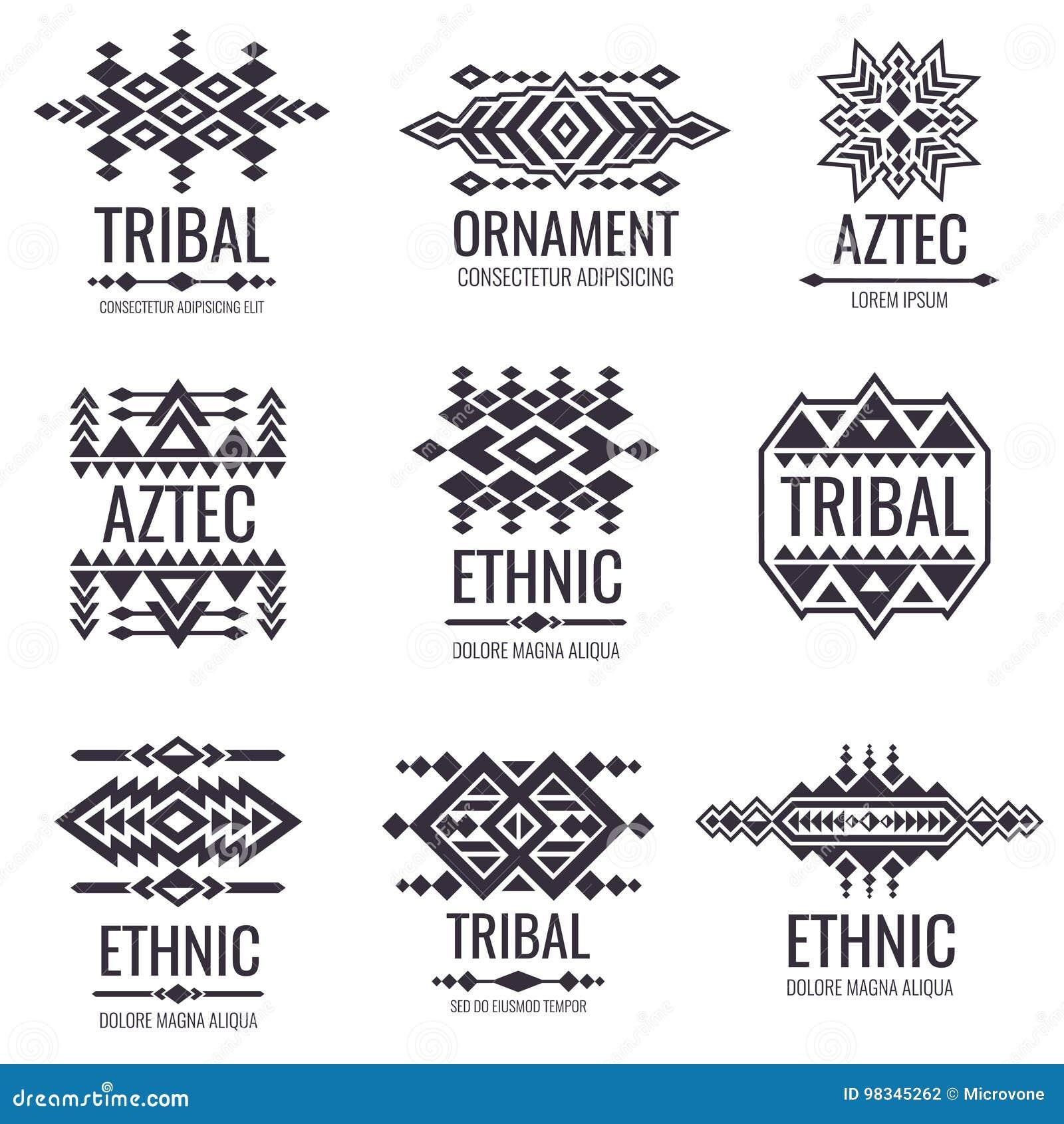 Modelo Azteca Tribal Del Vector Gráficos Indios Para Los Diseños Del