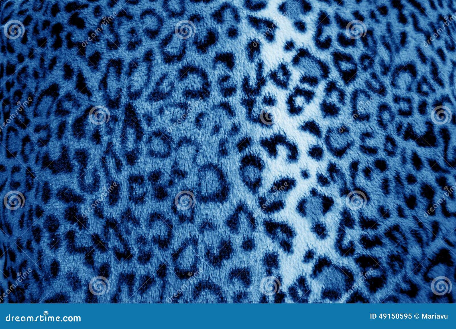 Modelo azul de la piel del estampado de animales del leopardo - tela