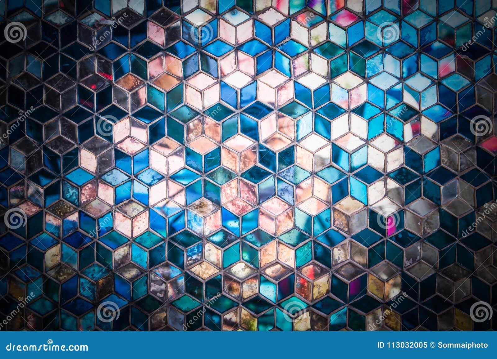 Modelo azul del espejo del mosaico