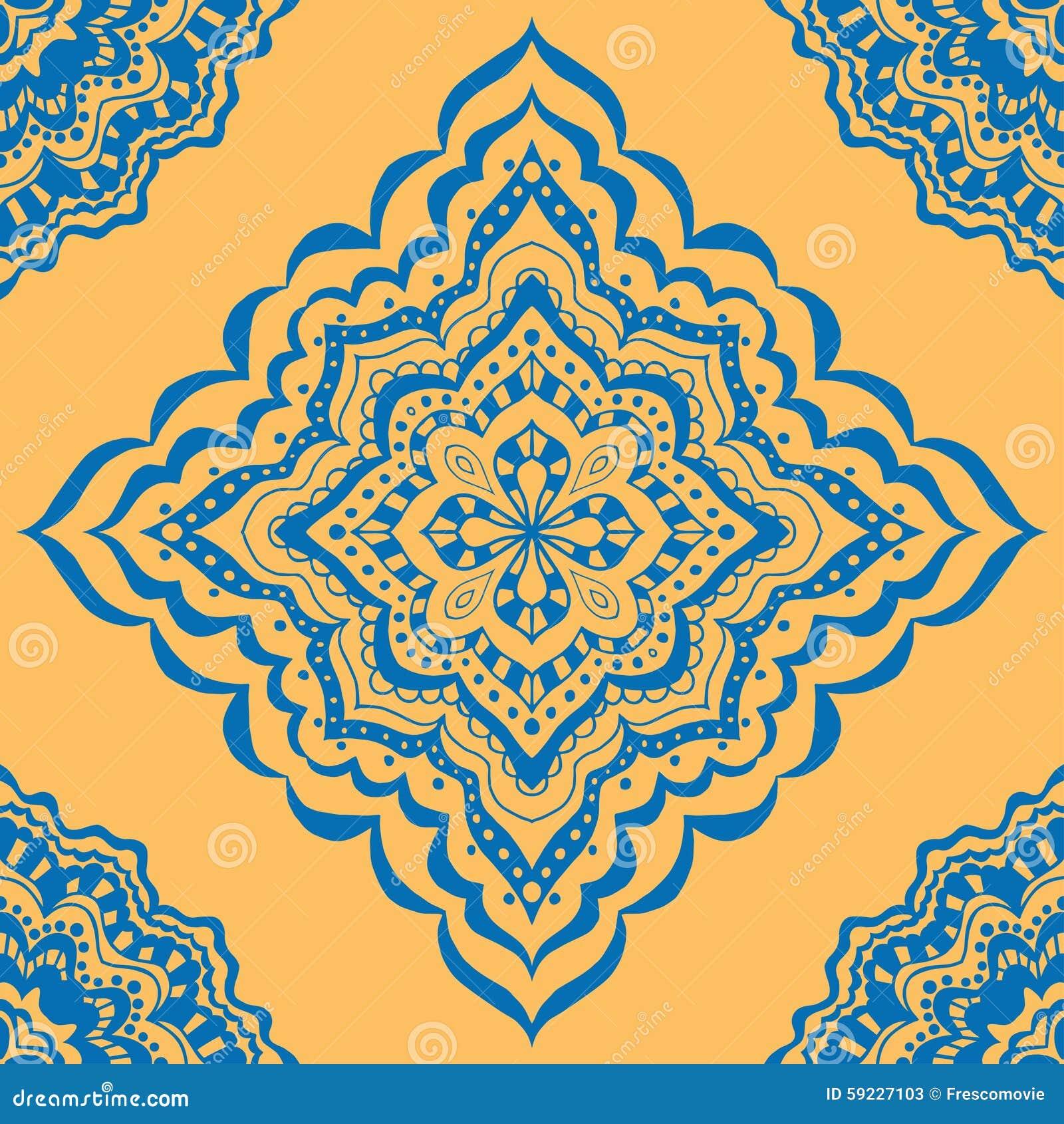 Download Modelo azul inconsútil ilustración del vector. Ilustración de indio - 59227103