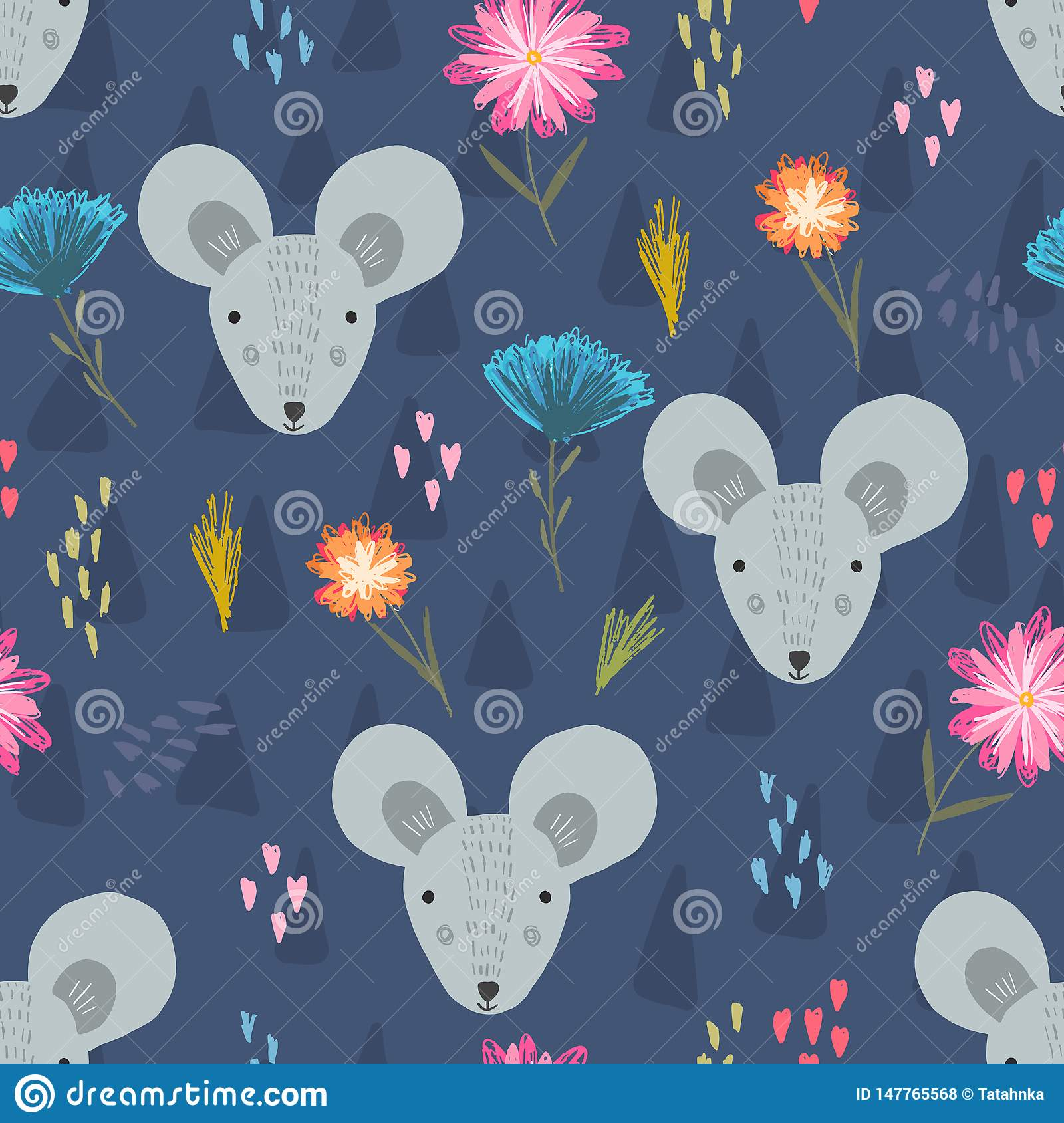 Modelo azul marino lindo con las cabezas y la flor del ratón