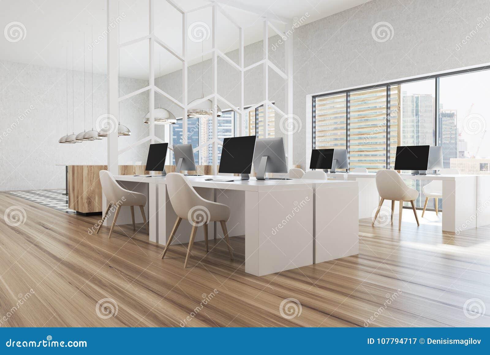 Modelo Blanco Y De Madera Moderno De La Esquina De Oficina