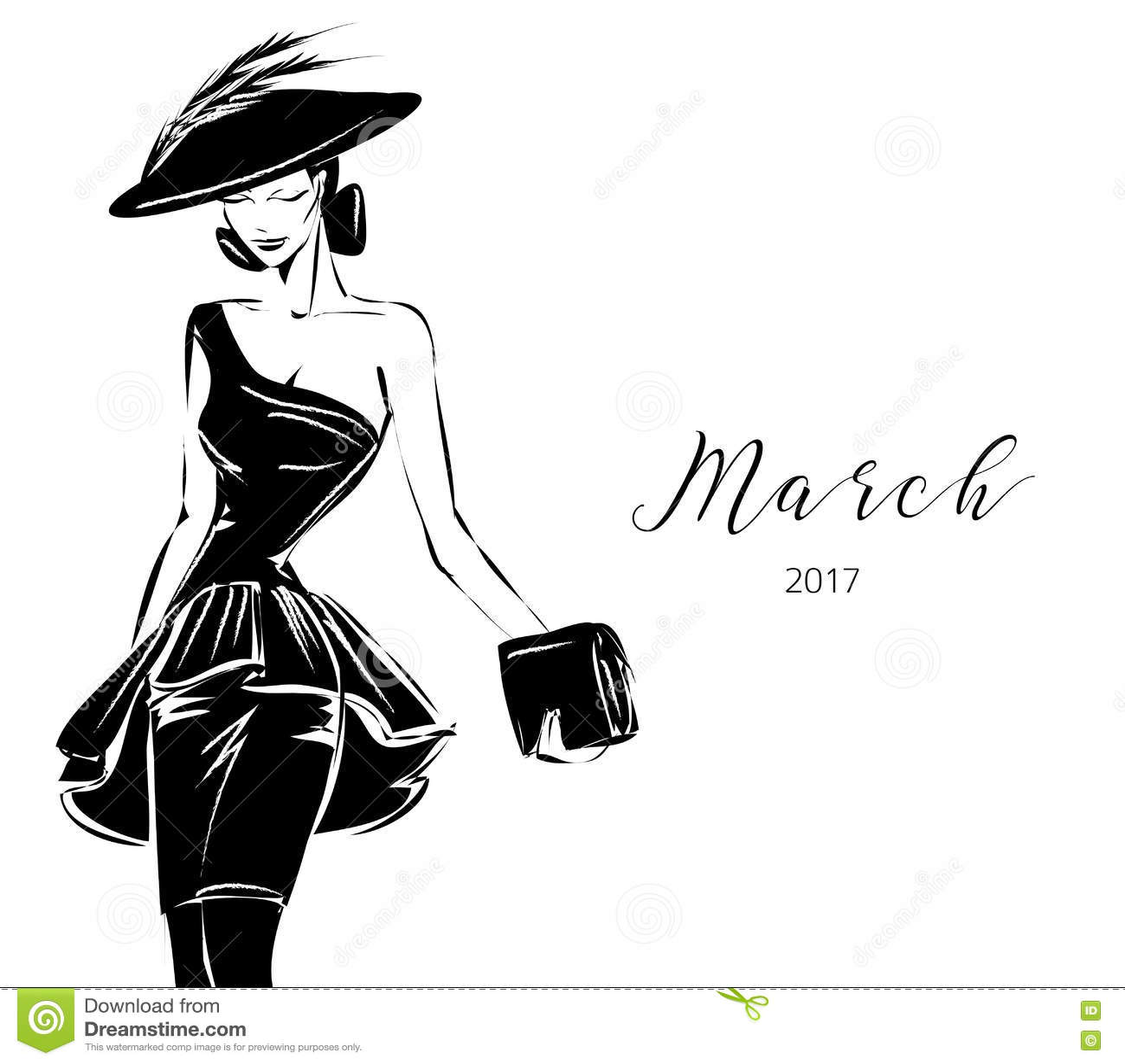1ee2dfbd104f Modelo Blanco Y Negro De La Mujer De La Moda Con El Fondo Del ...
