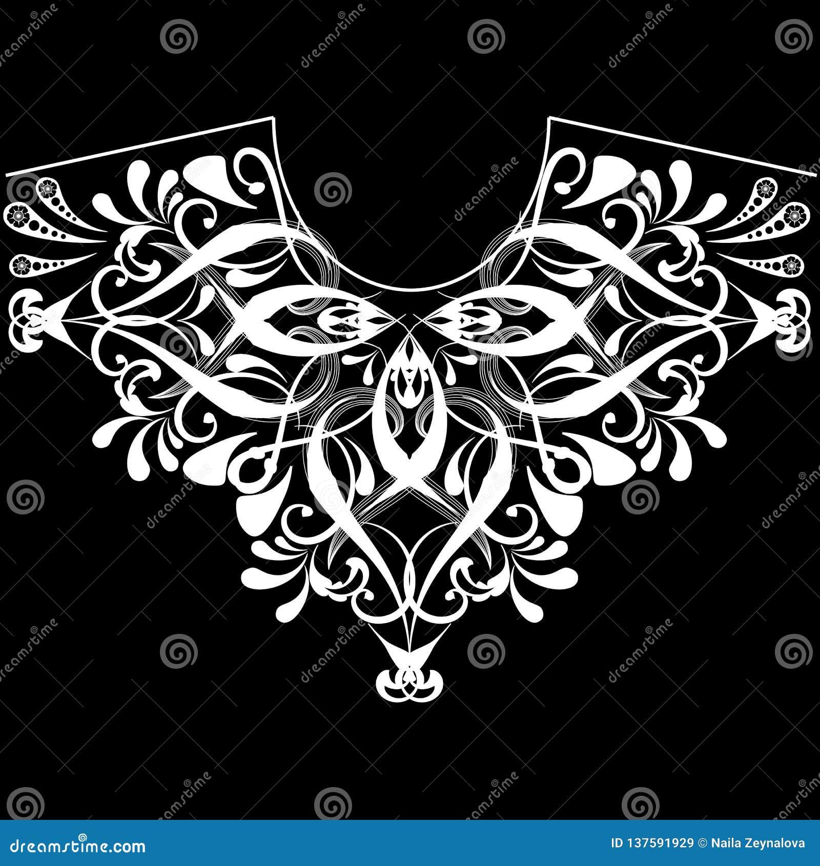 Modelo blanco y negro floral del escote del vintage Fondo femenino ornamental de la moda del vector Línea étnica ornamento del cu
