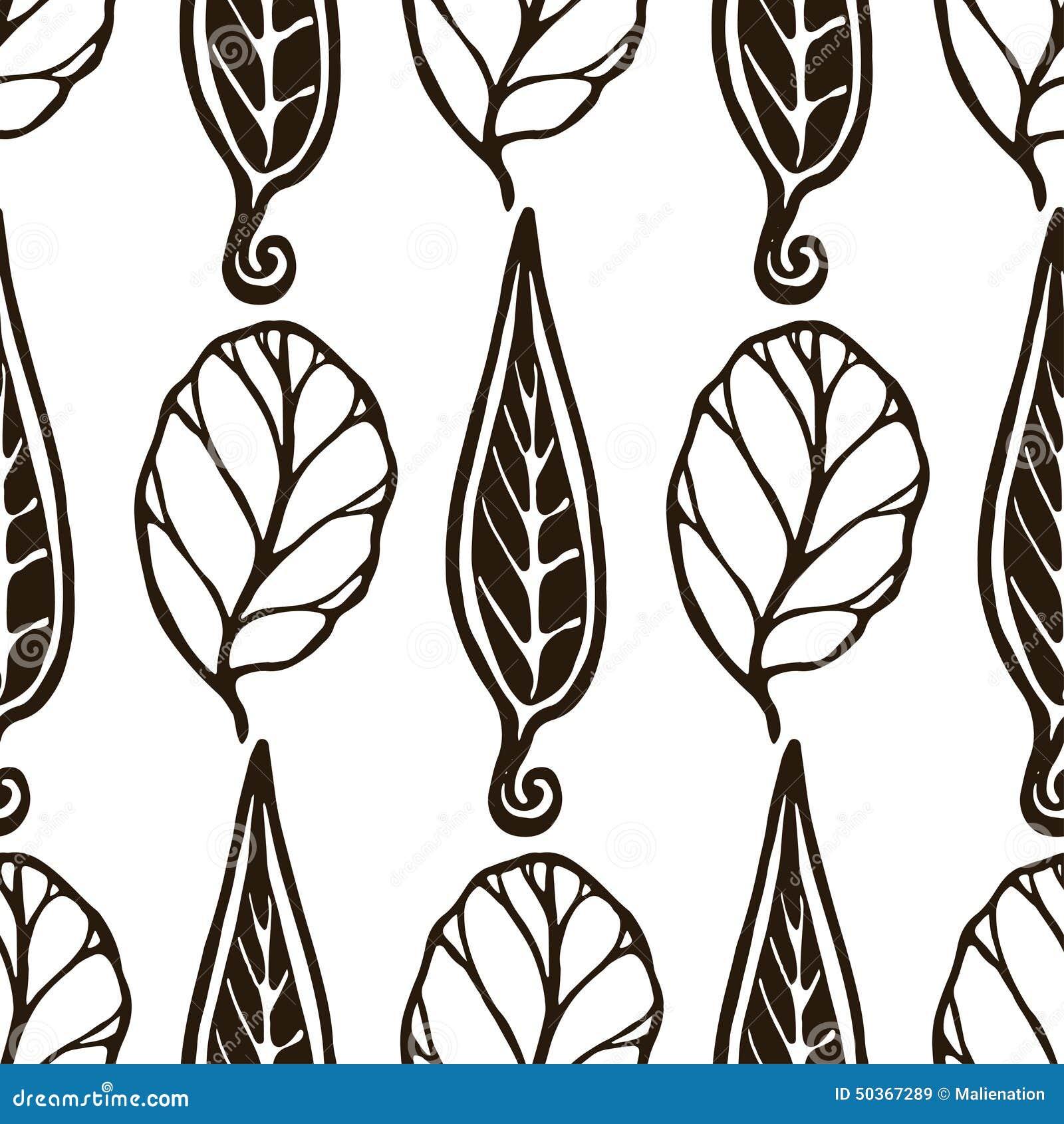 Modelo Blanco Y Negro Inconsútil Decorativo Con Las Hojas Textura ...
