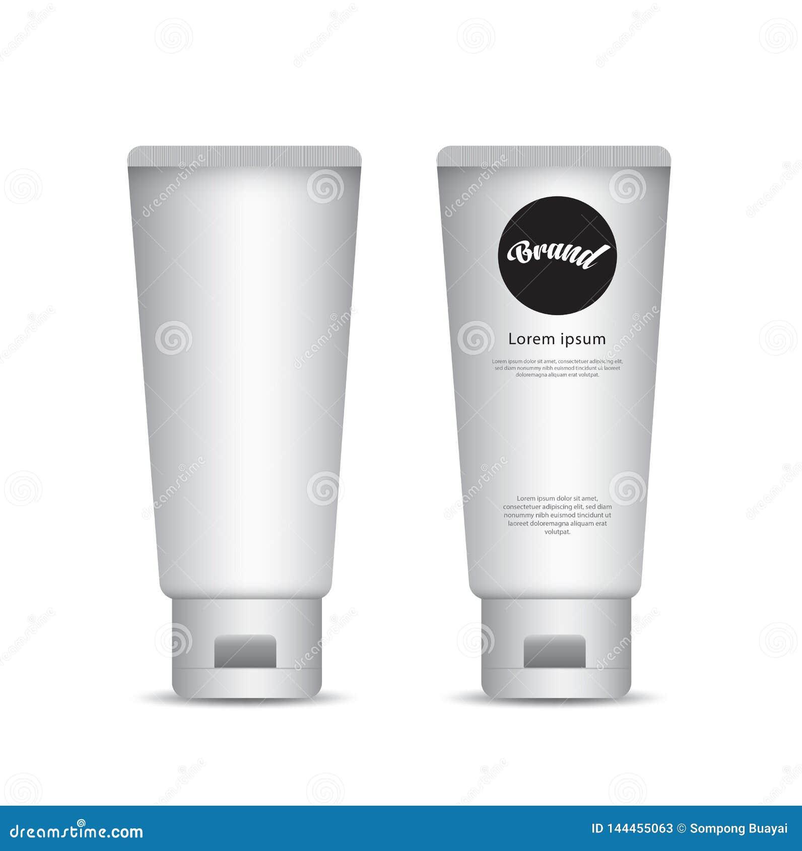 Modelo branco do tubo para o creme, loção, gel, pasta de dente, molho, colagem, pintura Projeto de empacotamento Produto dos cosm