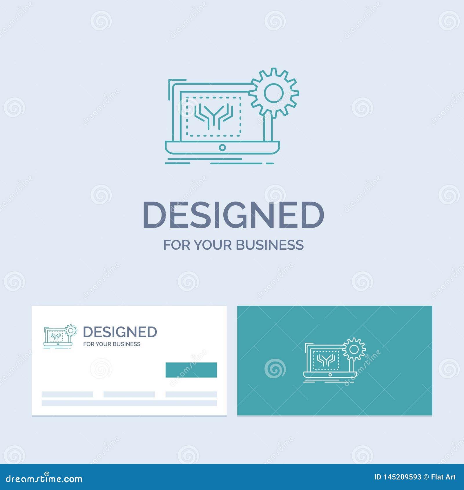 Modelo, circuito, electrónica, ingeniería, negocio Logo Line Icon Symbol del hardware para su negocio Tarjetas de visita de la tu
