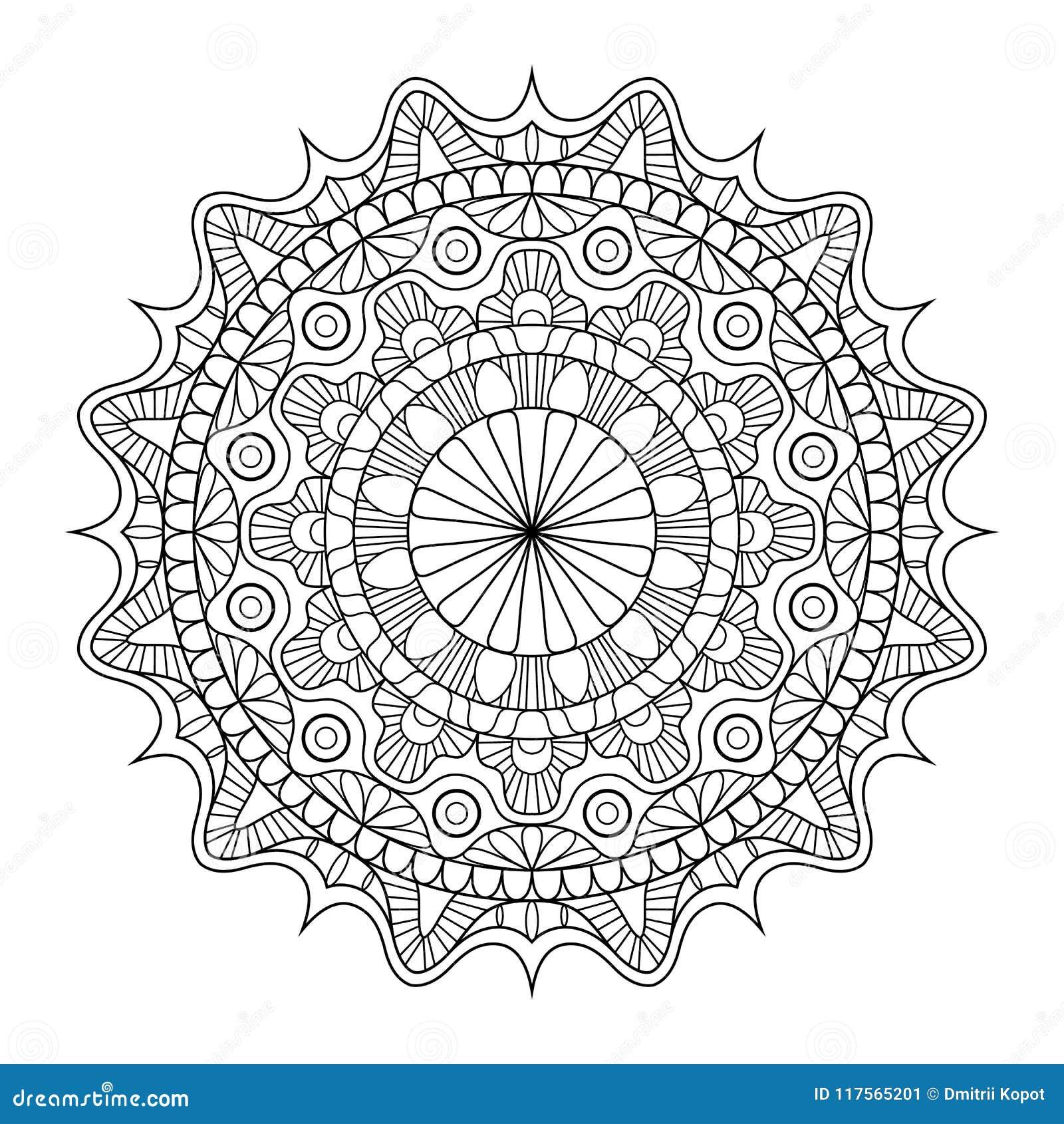 Modelo circular en la forma de mandala para la alheña, Mehndi, tatuaje, decoración Ornamento decorativo en estilo oriental étnico