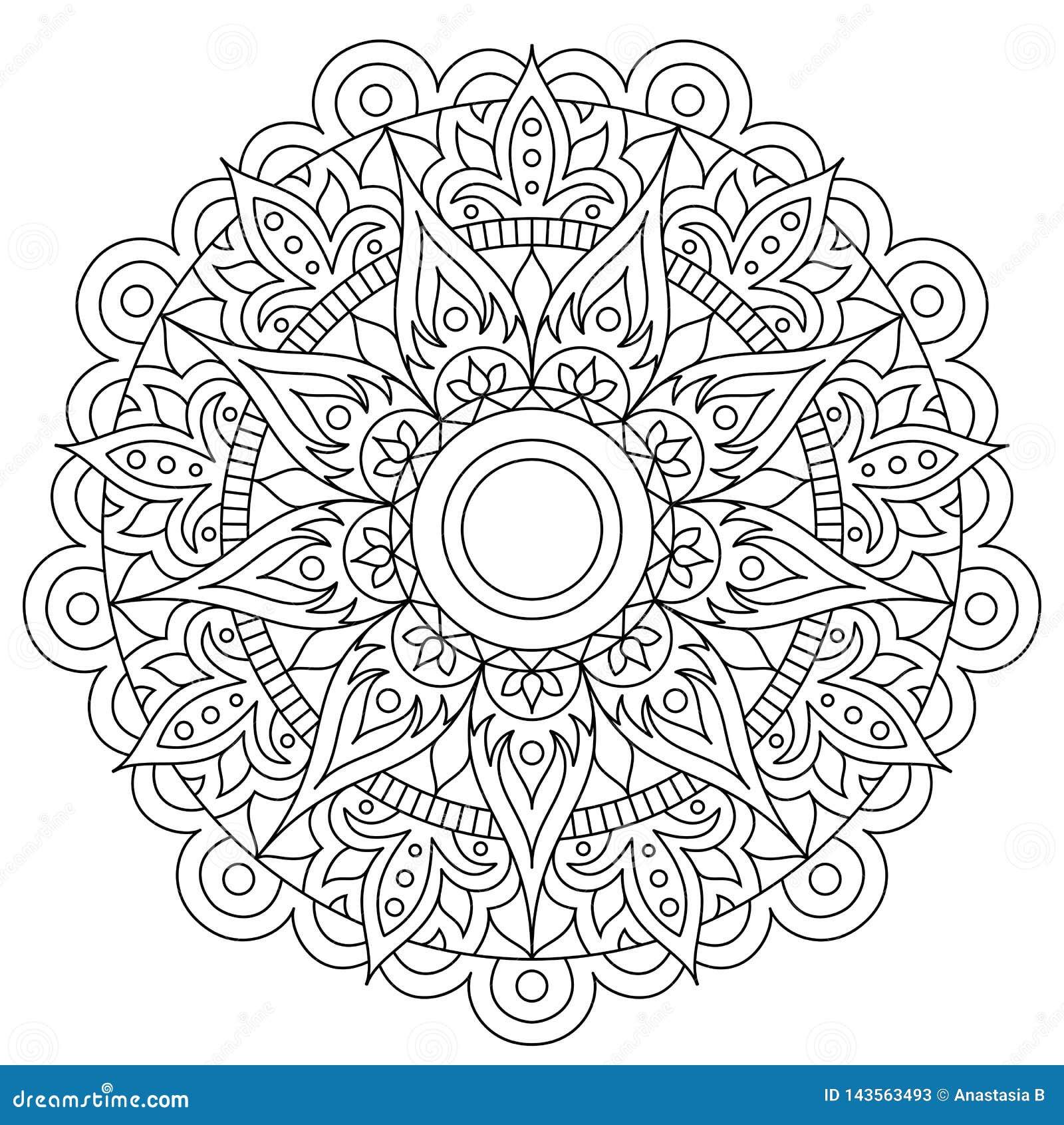 Modelo circular en la forma de mandala para la alhe?a, Mehndi, tatuaje, decoraci?n Ornamento decorativo en estilo oriental ?tnico