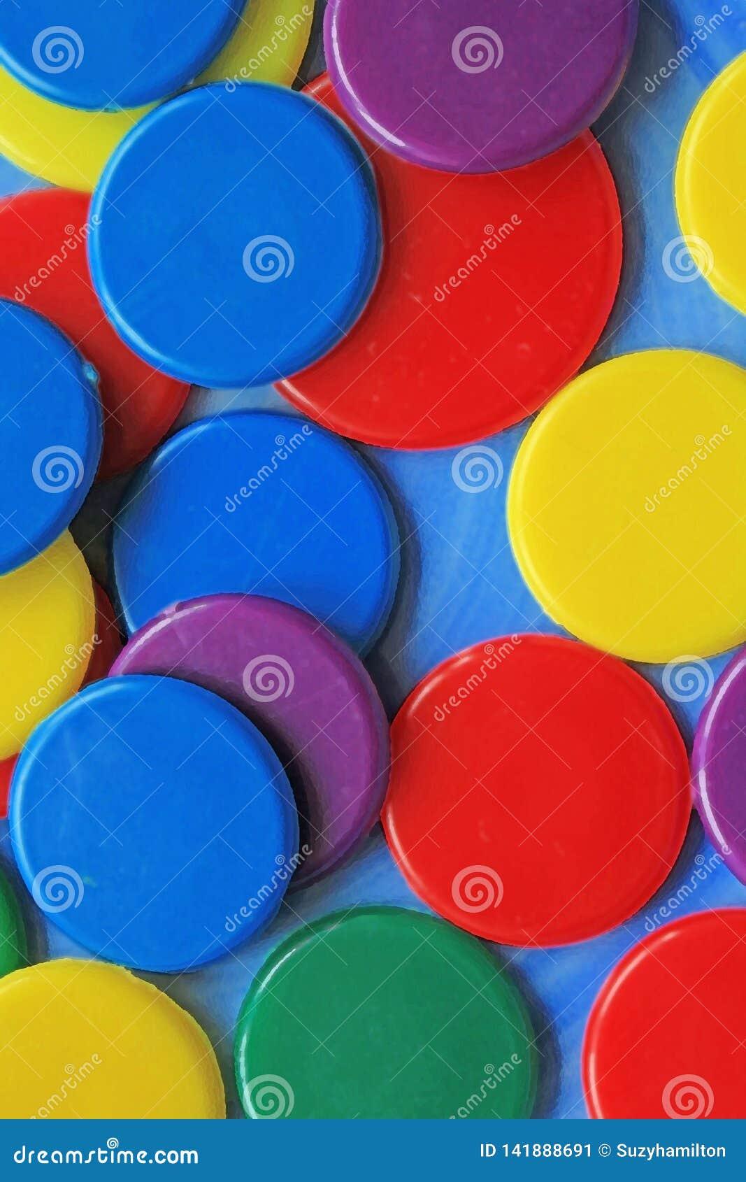 Modelo colorido de los círculos en un cierre azul del fondo para arriba