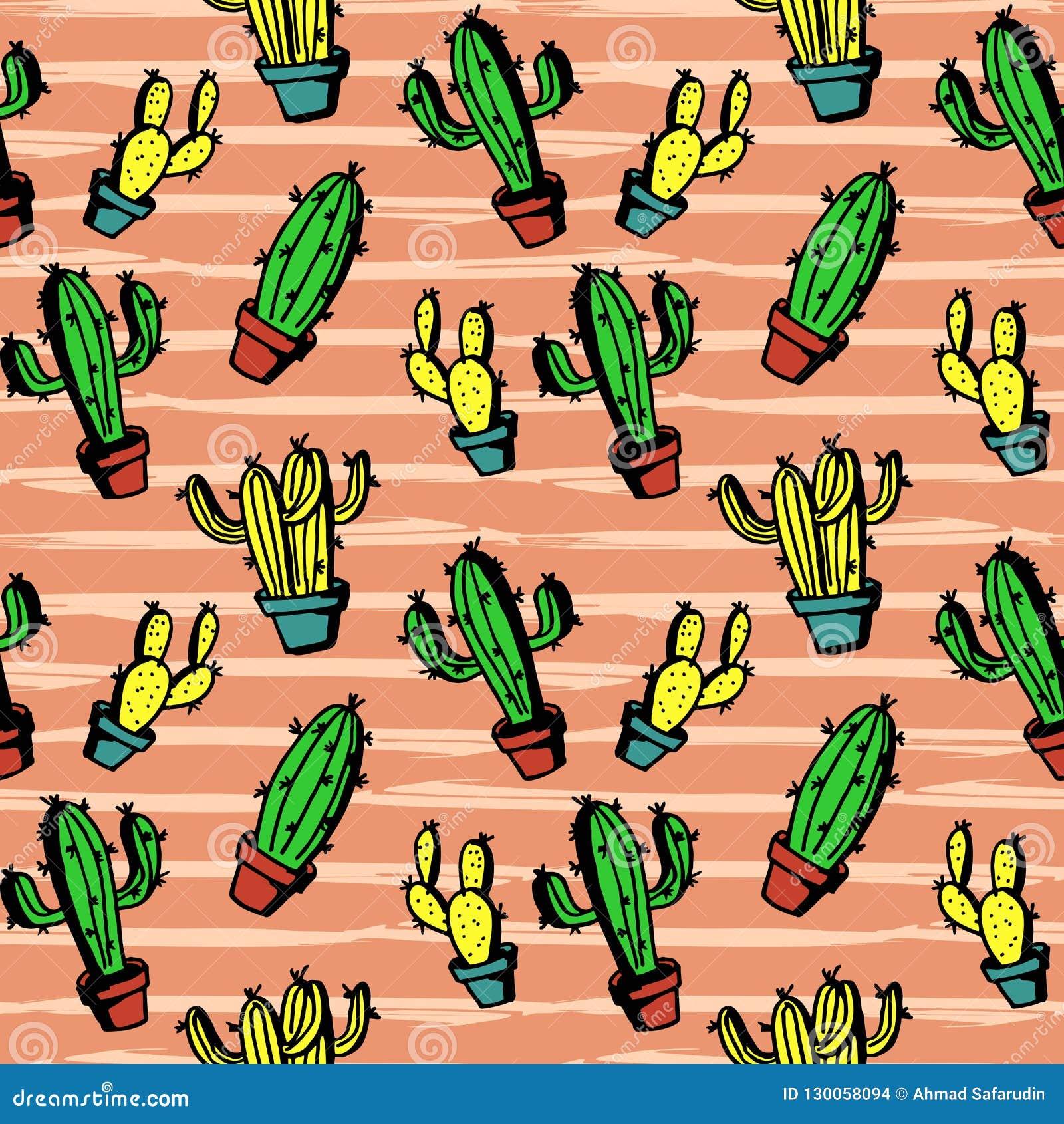 Modelo Colorido Del Cactus Con El Estilo De Dibujo Impresionante