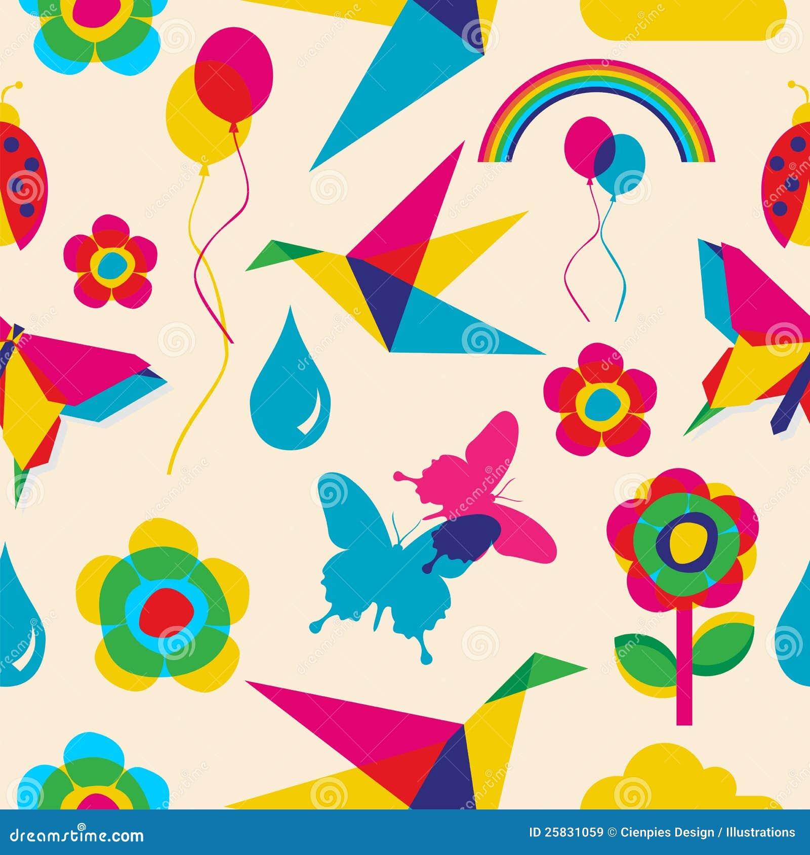 Modelo colorido del origami del verano
