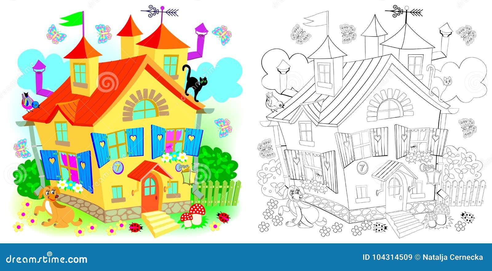 Blanco Negro Juguete Del Colorido Colorear Y Casa Modelo Para PZTOiXku