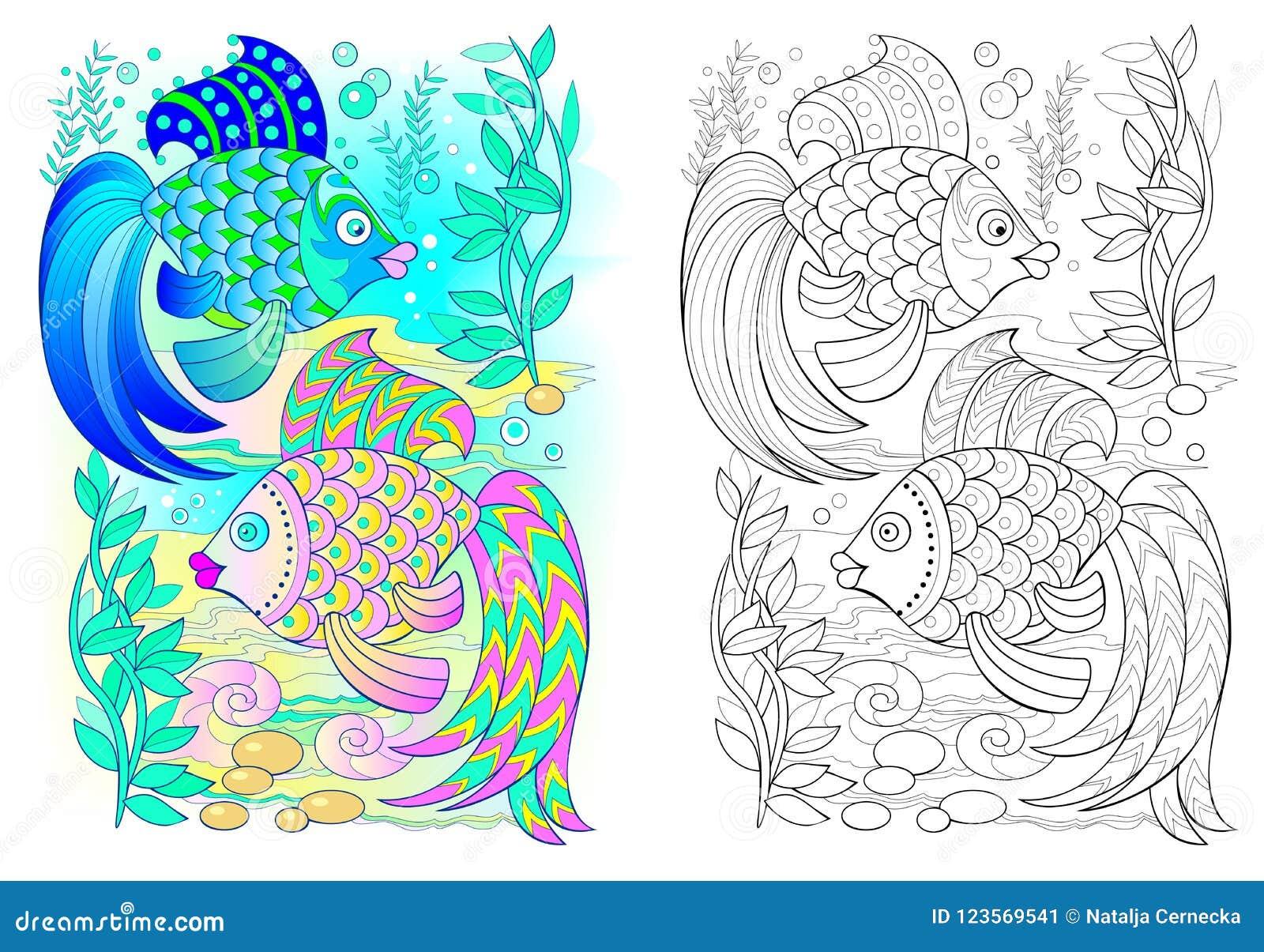 Modelo Colorido Y Blanco Y Negro Para Colorear Dibujo De Pares De