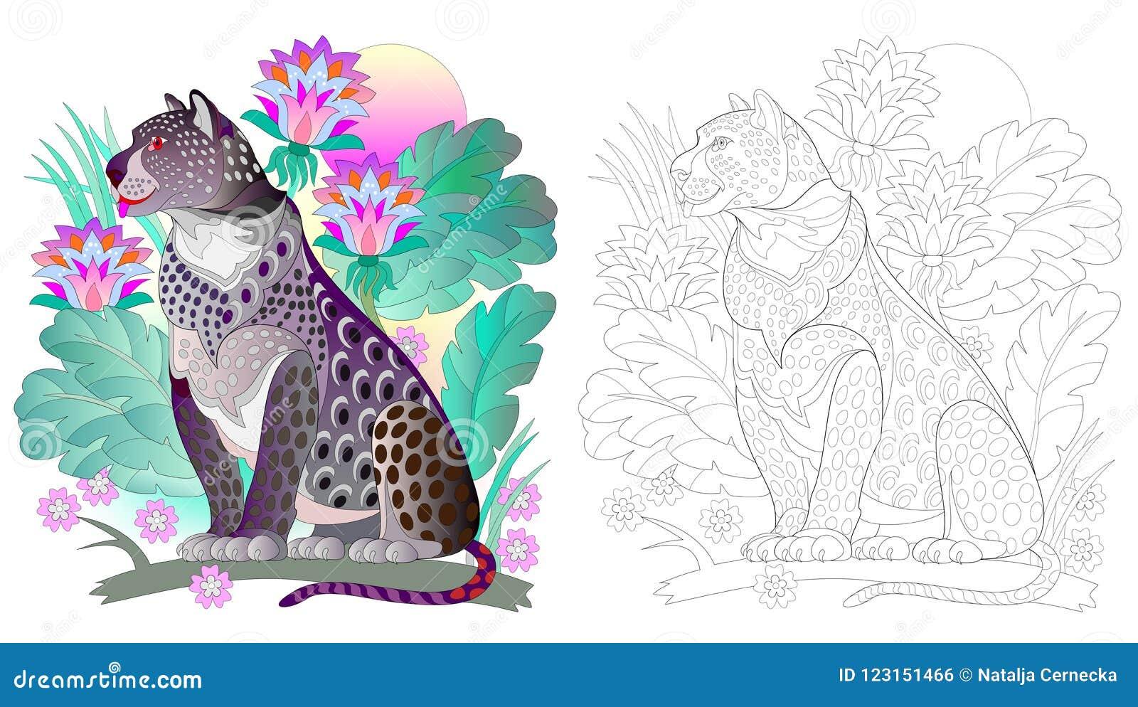 Modelo Colorido Y Blanco Y Negro Para Colorear Dibujo Del Leopardo
