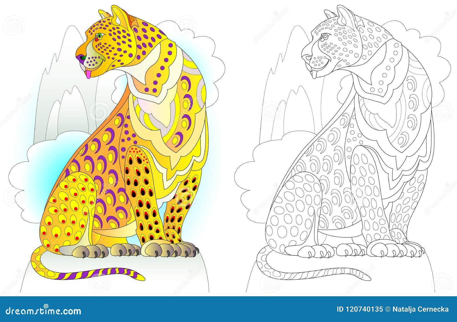 Modelo Colorido Y Blanco Y Negro Para Colorear Ejemplo Del Leopardo ...