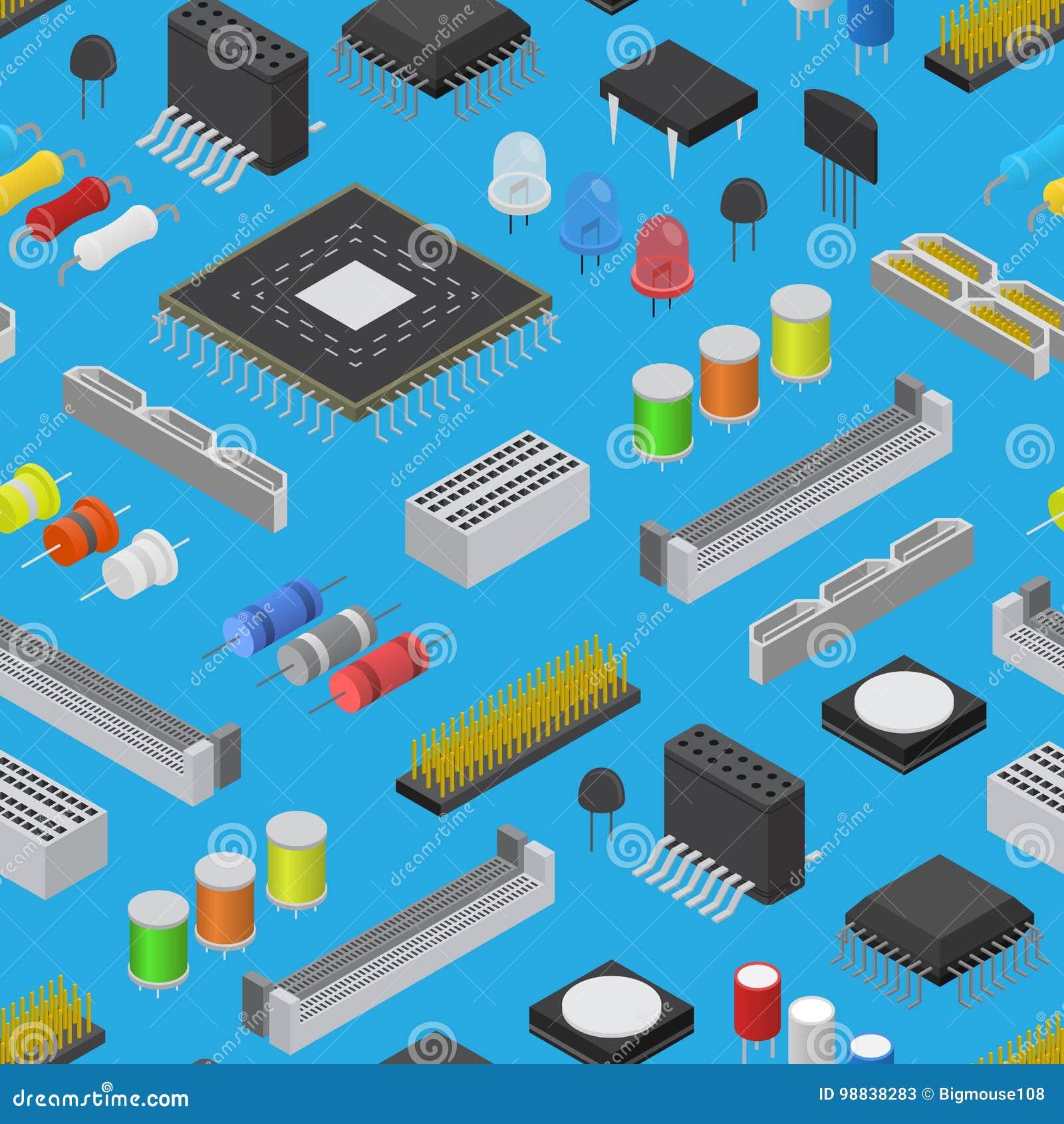 Modelo componente del fondo de la placa de circuito electrónica del ordenador en una visión isométrica azul Vector