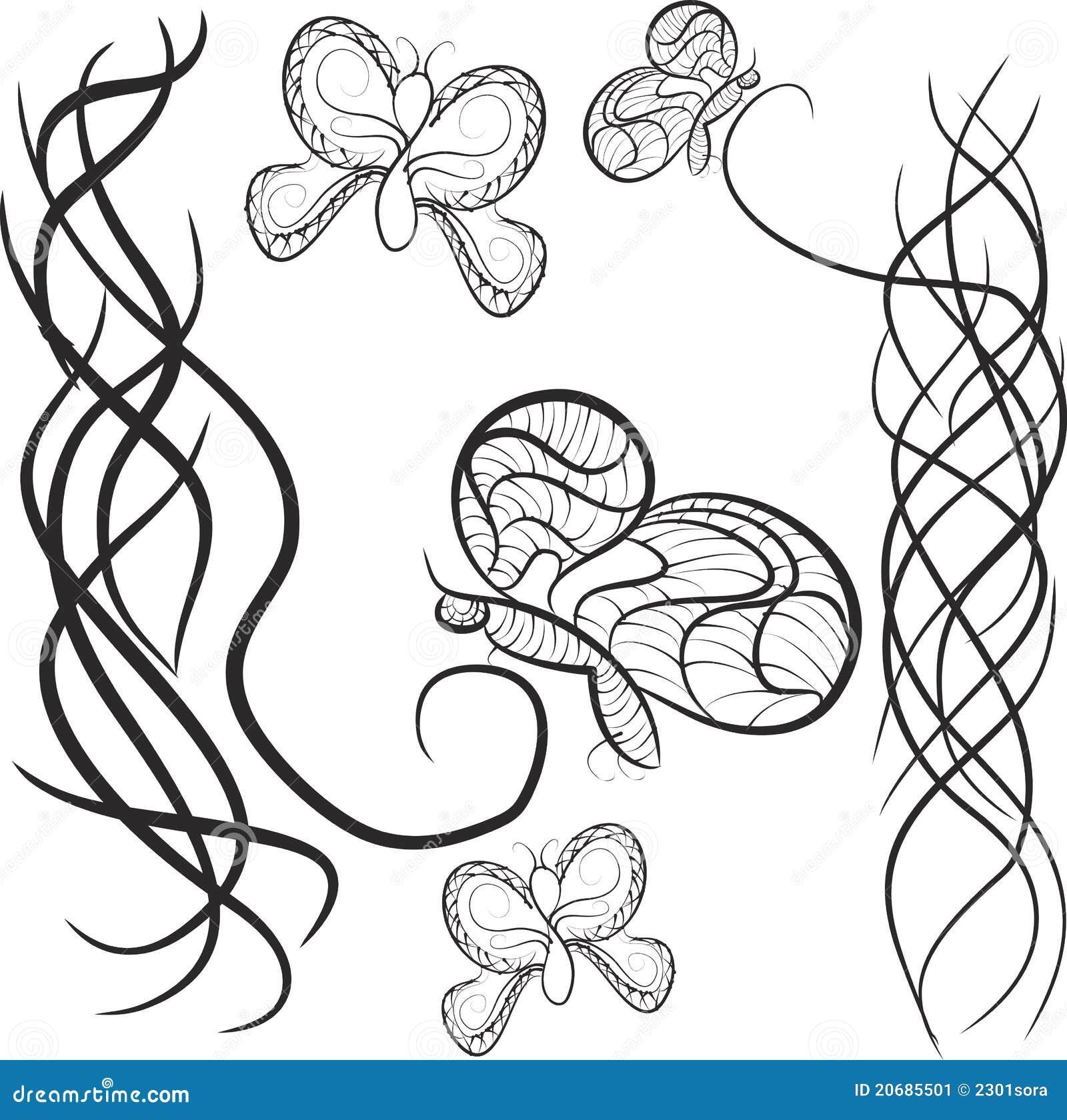 Modelo Con La Mariposa Conveniente Para Un Tatuaje Ilustración Del