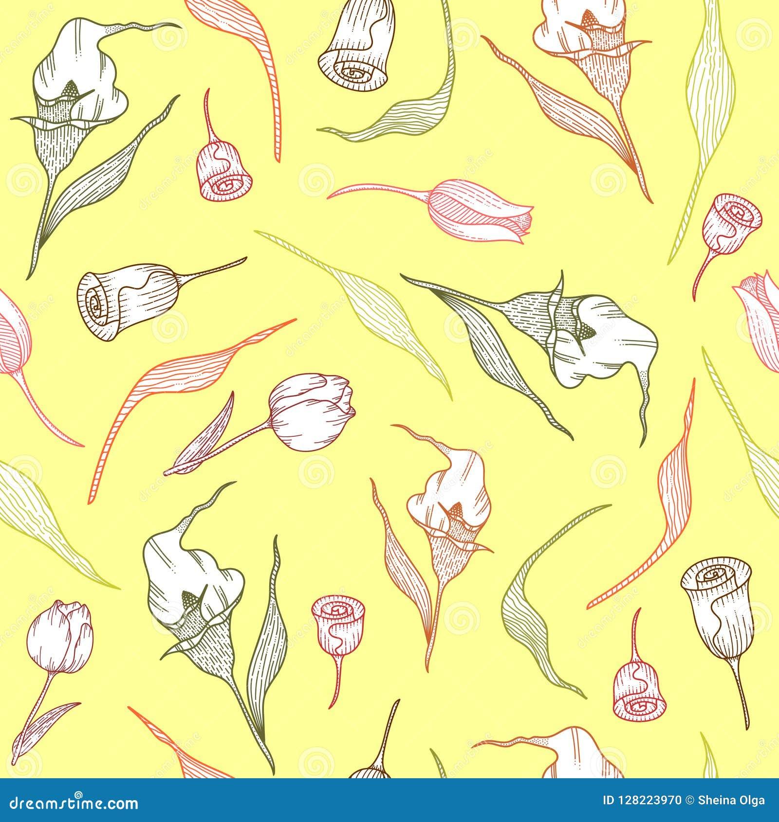 Modelo con las calas, los tulipanes y las hojas en colores pastel