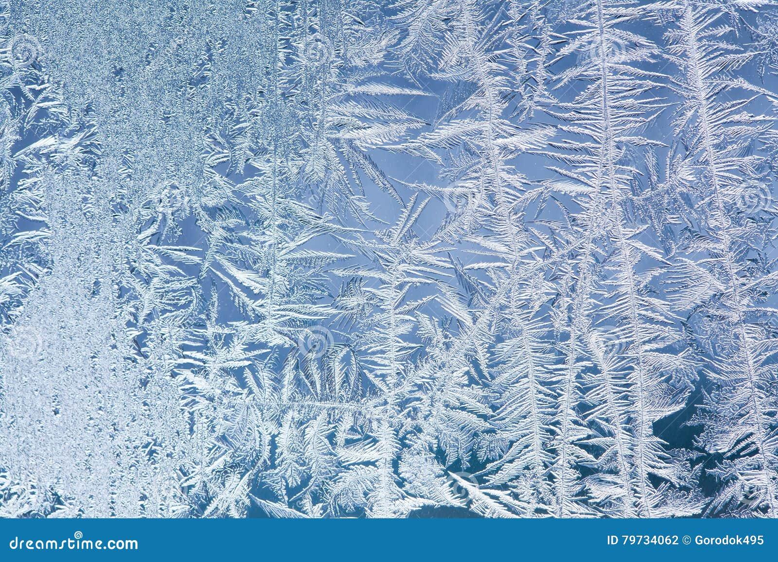 Modelo congelado del marco de la decoración de la ventana textura de las flores del hielo Todavía del invierno fotografía de la v