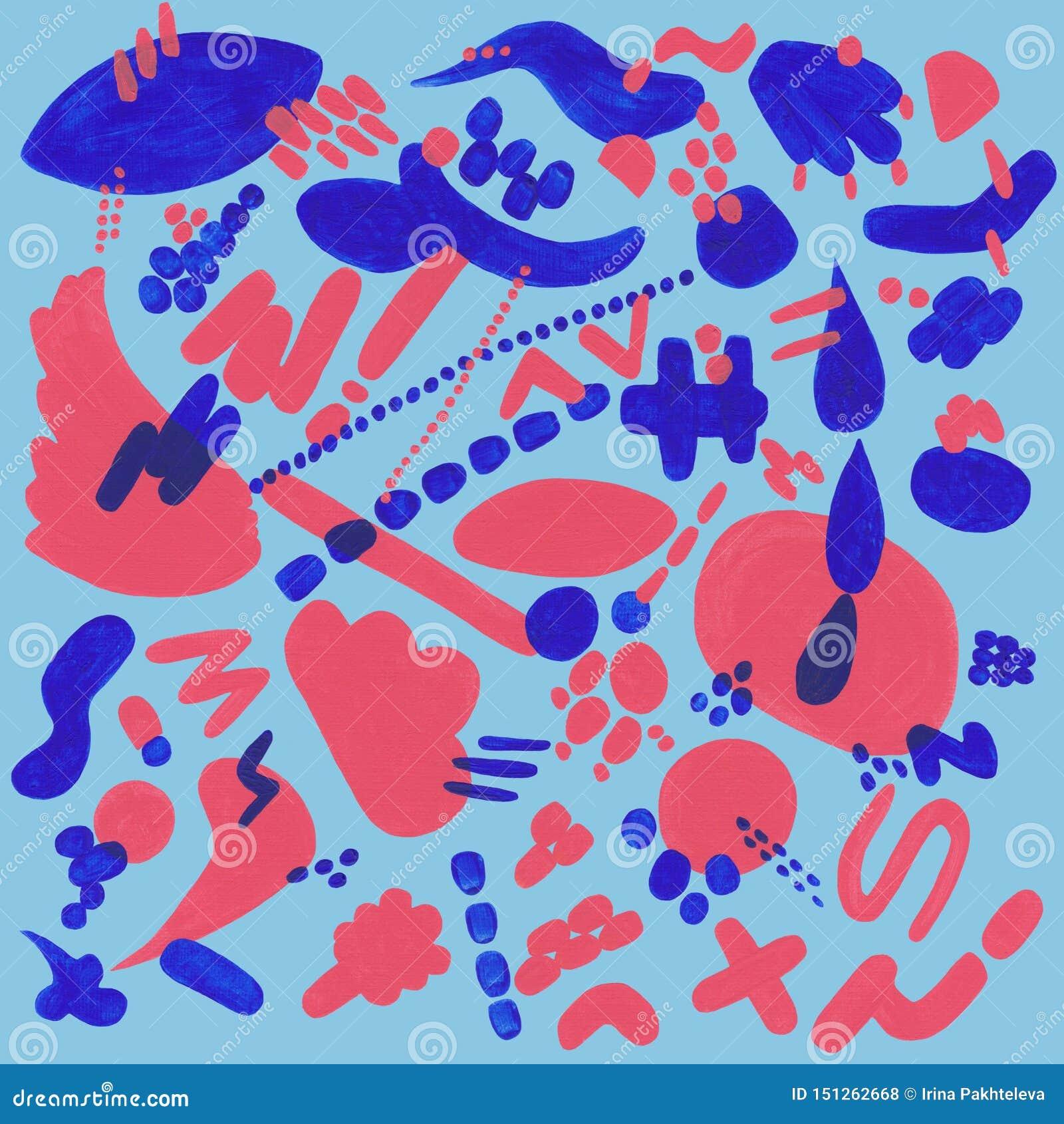 Modelo coralino y azul con los elementos abstractos