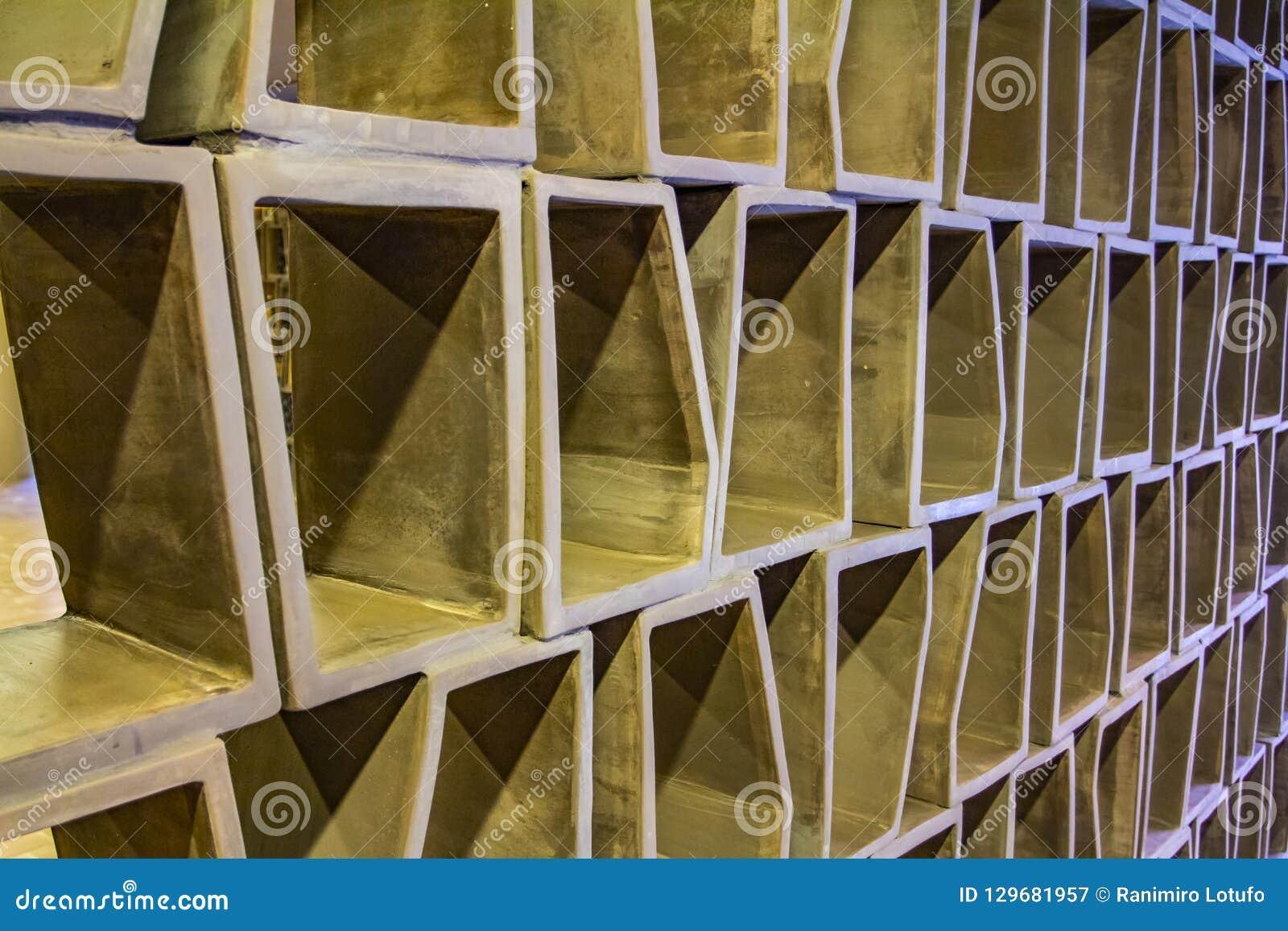 Modelo a cuadros abstracto - el panel de pared interior - textura de madera o del cemento - rejilla hexagonal - ajuste decorativo