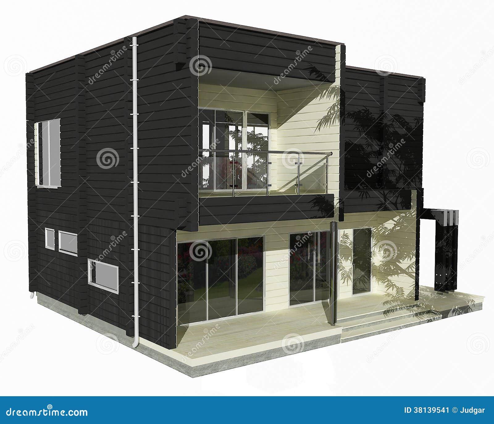 Modelo 3d da casa de madeira preto e branco em um fundo for Modelo de casa en 3d