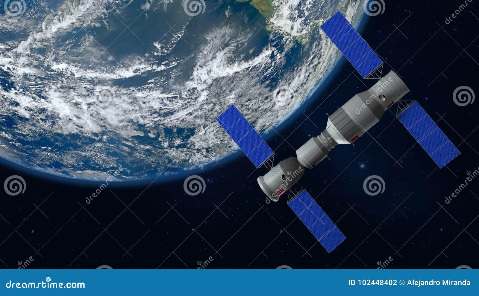 Modelo 3D de la estación espacial china Tiangong que está en órbita la tierra del planeta