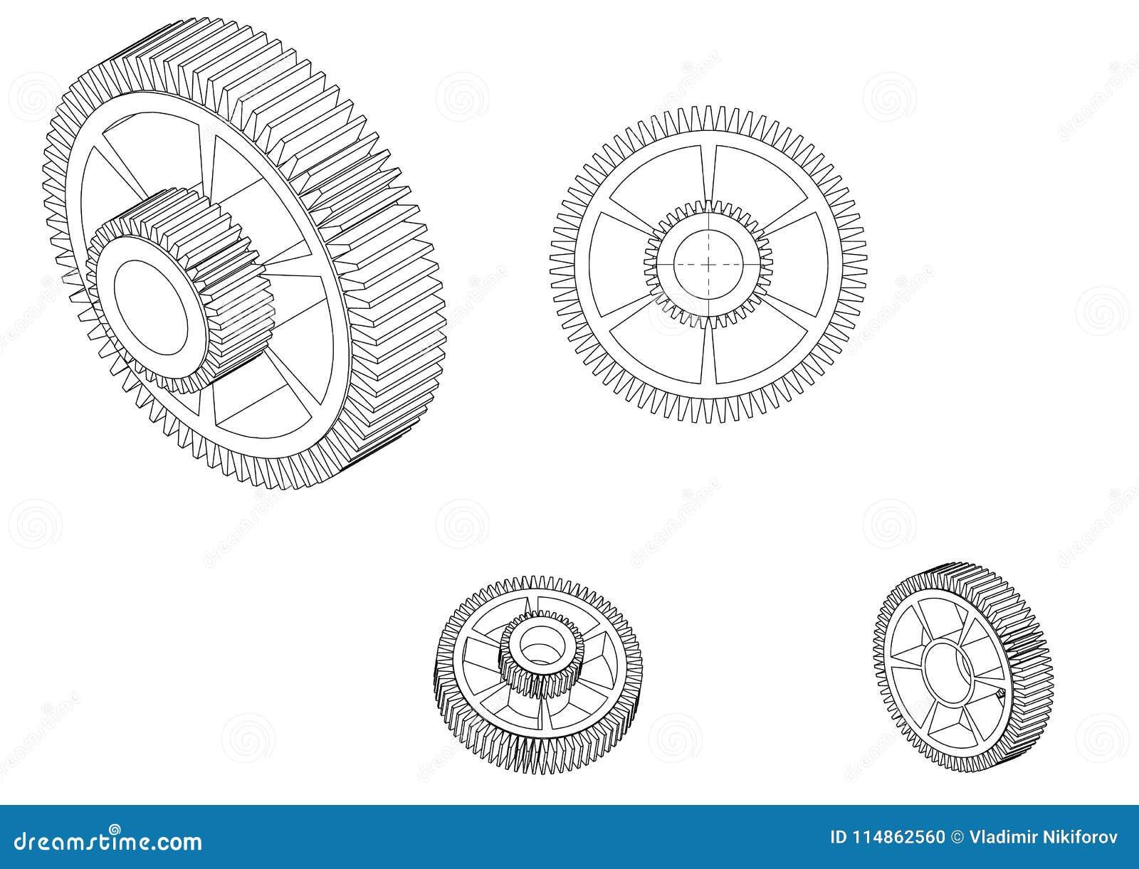 Modelo 3d de uma roda denteada em um branco