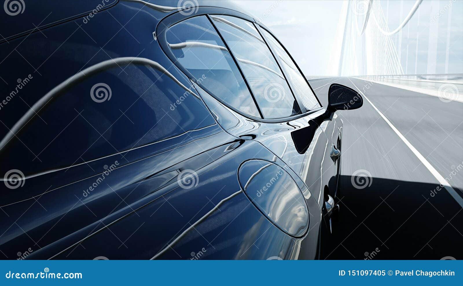 Modelo 3d del coche deportivo negro en el puente Conducci?n muy r?pida representaci?n 3d
