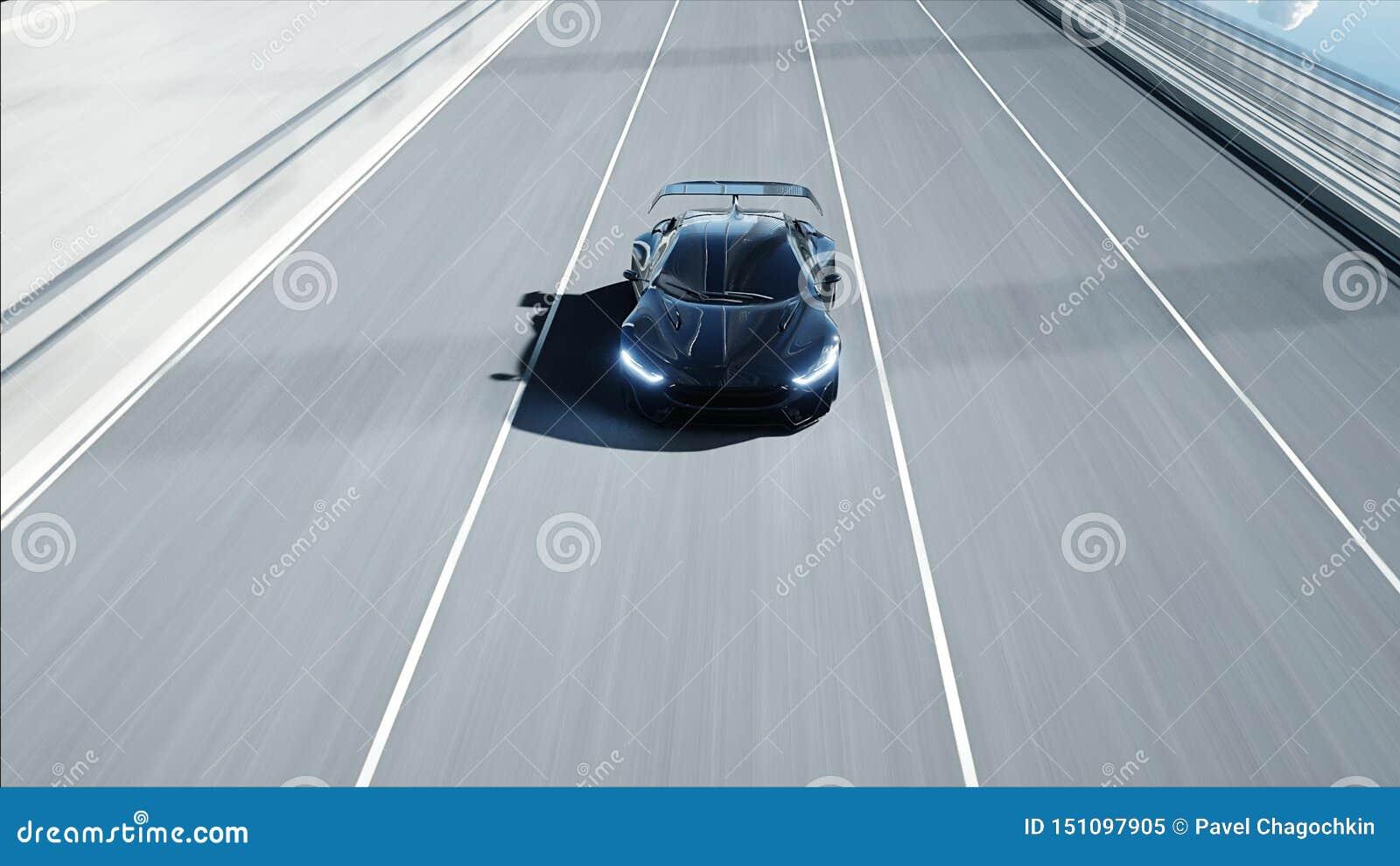 Modelo 3d do carro futurista preto na ponte Condu??o muito r?pida Conceito do futuro rendi??o 3d