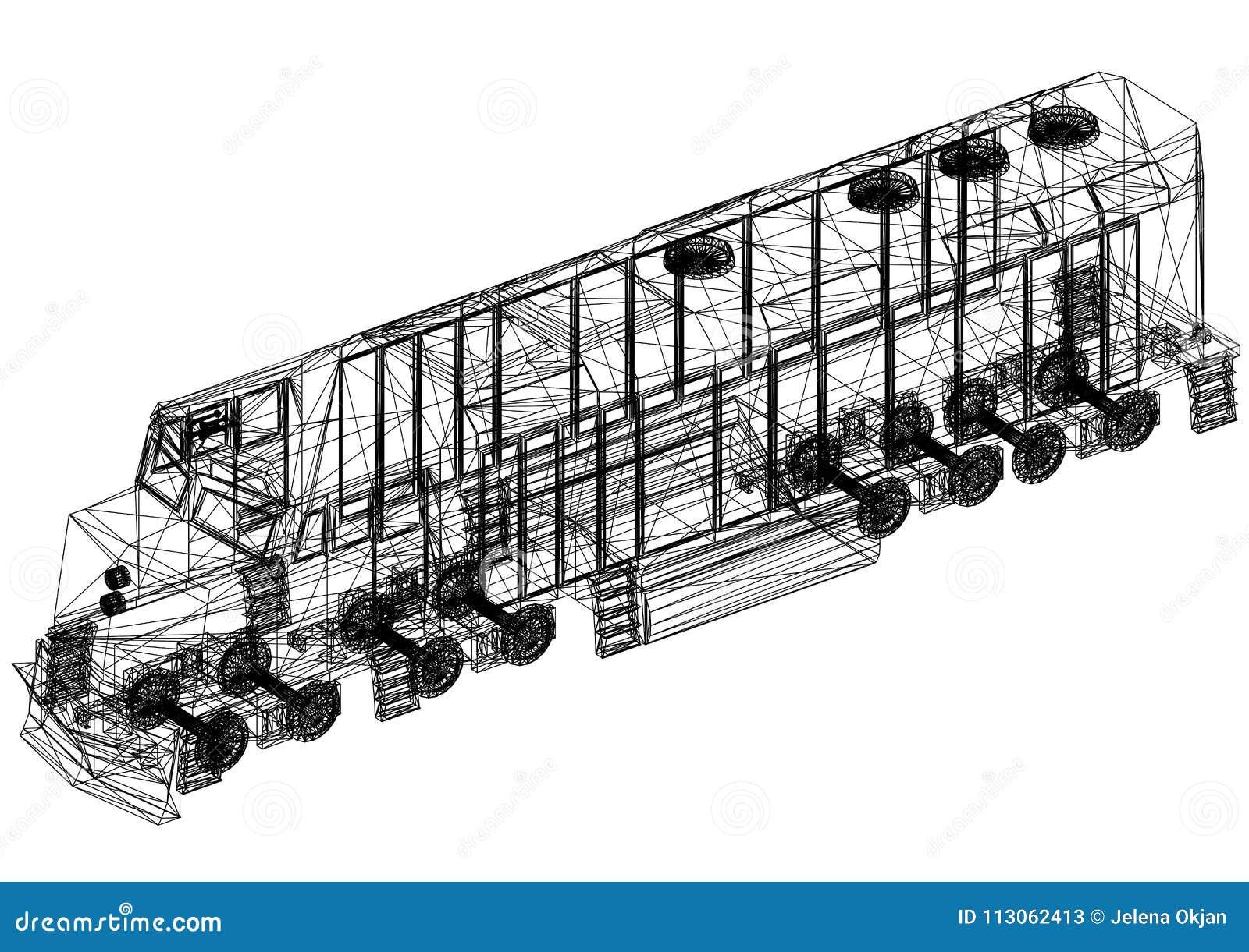 Modelo 3D locomotivo do trem - isolado