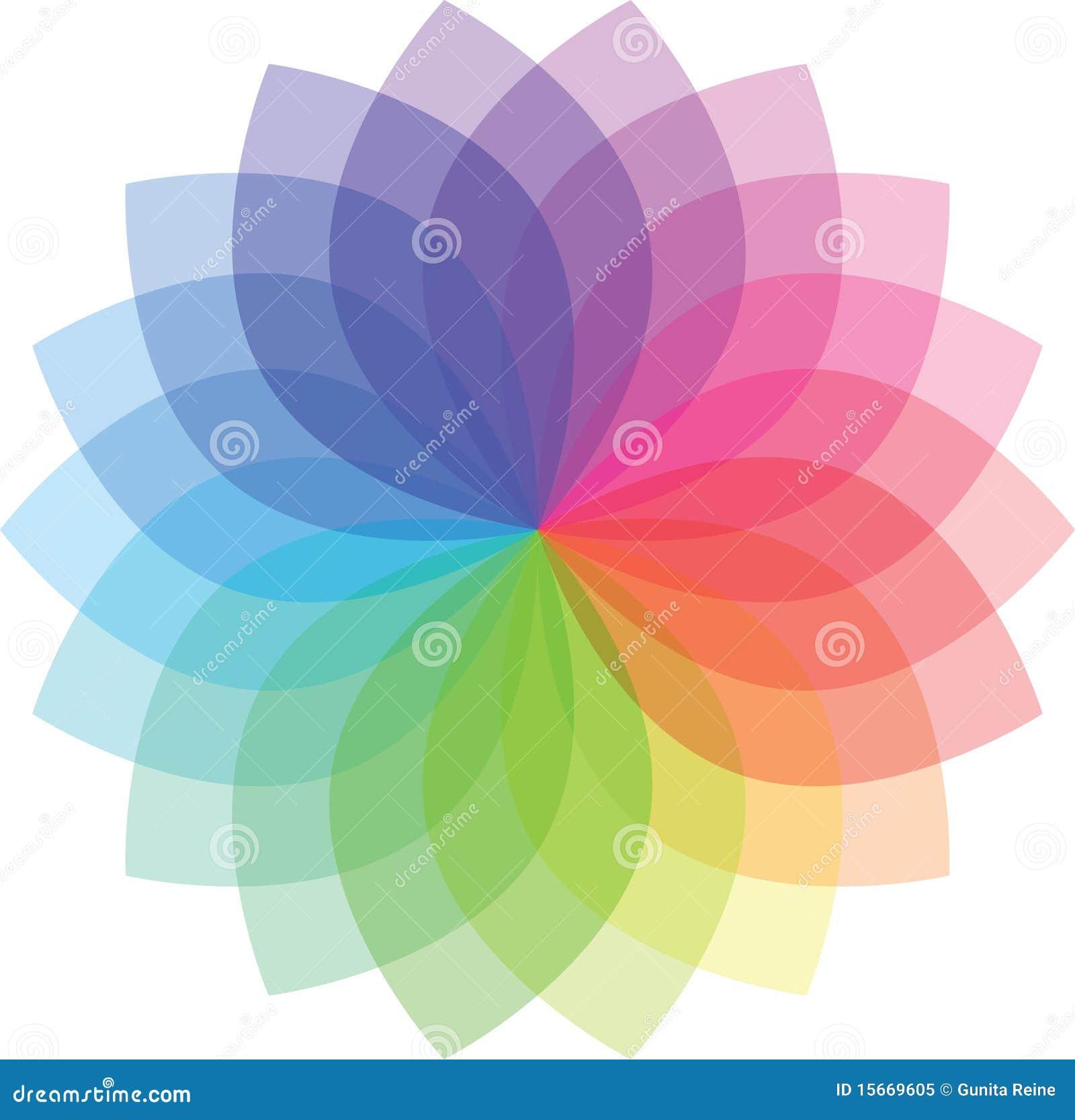 Modelo de flor coloreado
