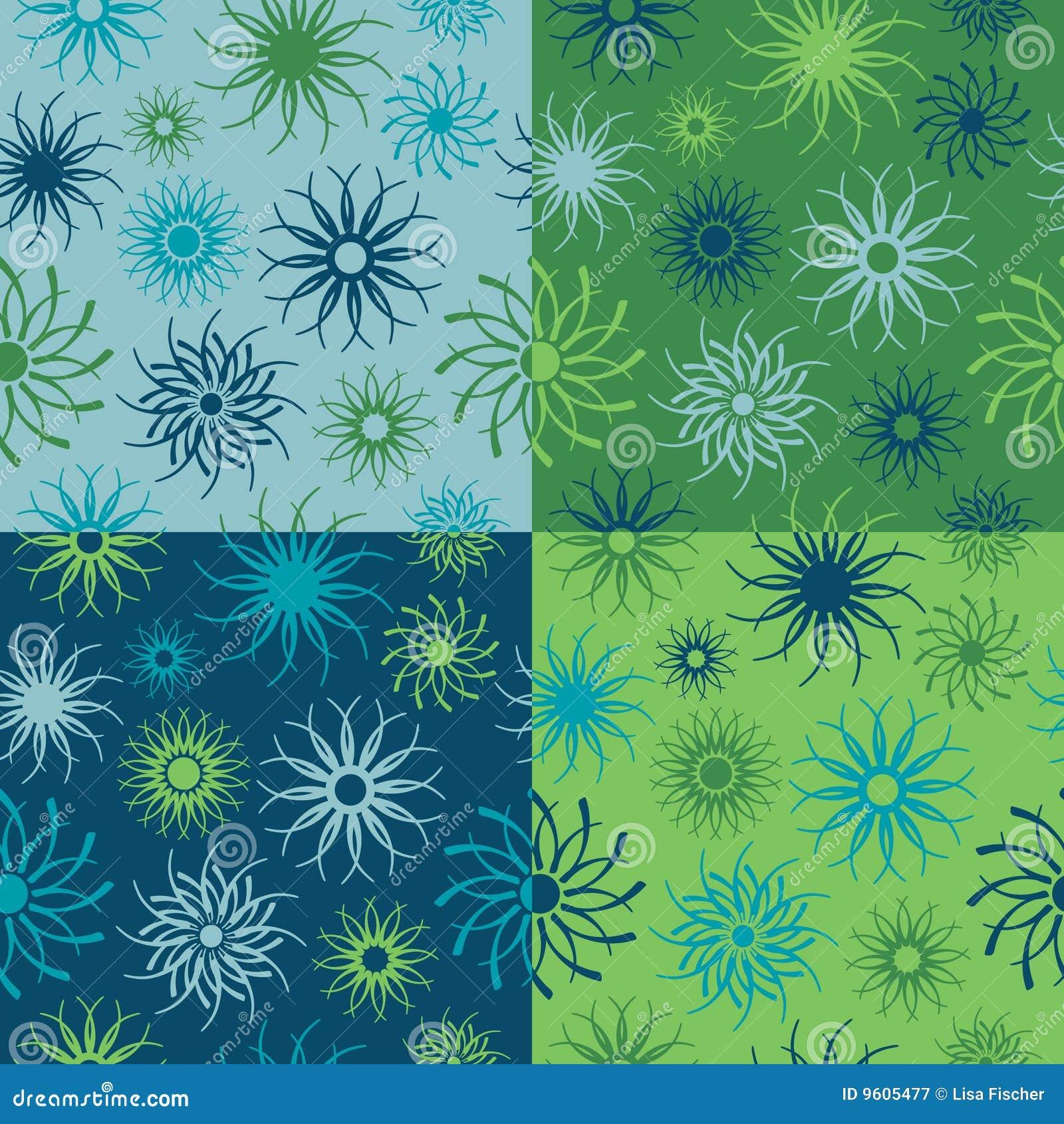 Modelo de flor de la chispa en azules y verdes