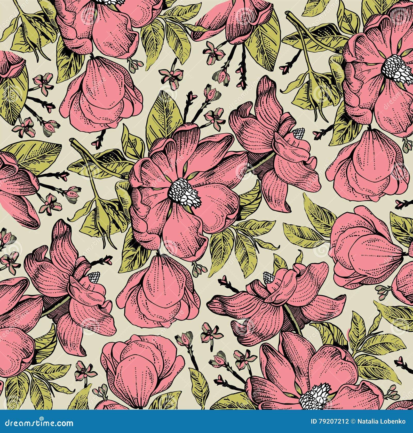 Modelo de flores aislado realista Fondo del Barroco del vintage Dogrose de Rose, escaramujo, escaramujo wallpaper Grabado del dib