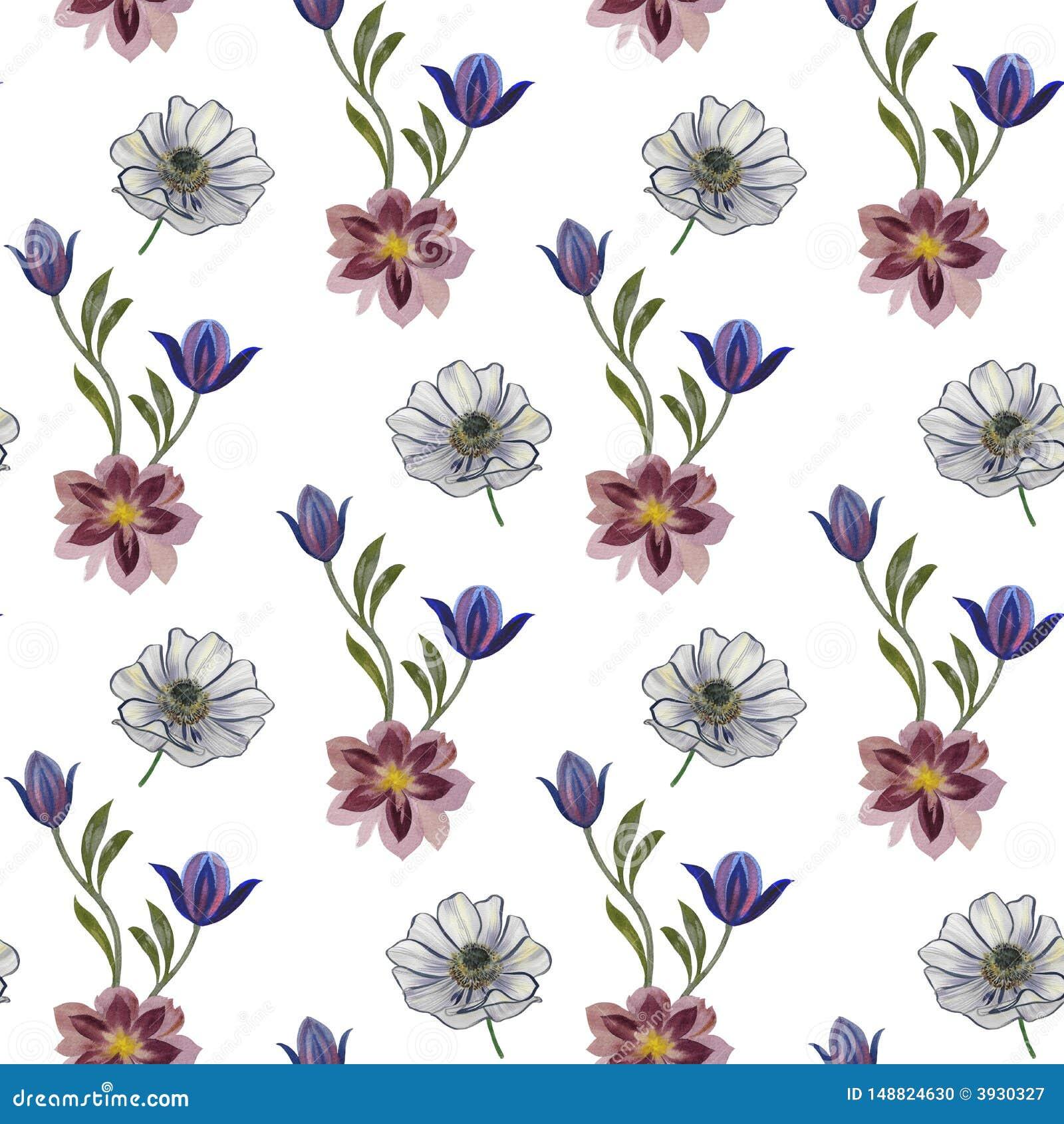 Modelo de flores incons?til de la acuarela Flores pintadas a mano en un fondo blanco Flores pintadas a mano de diversos colores F