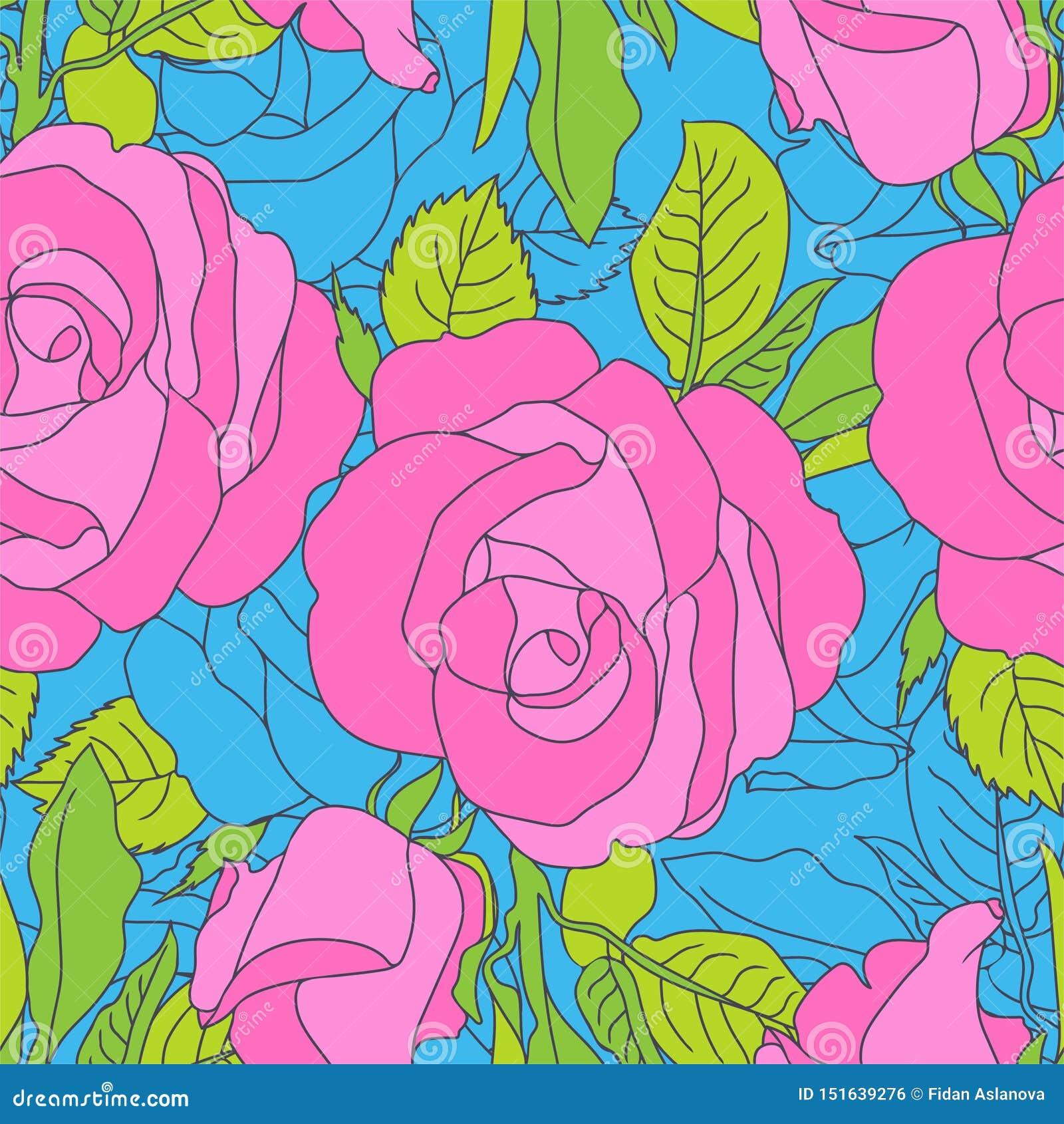 Modelo de flores rosado brillante en fondo azul